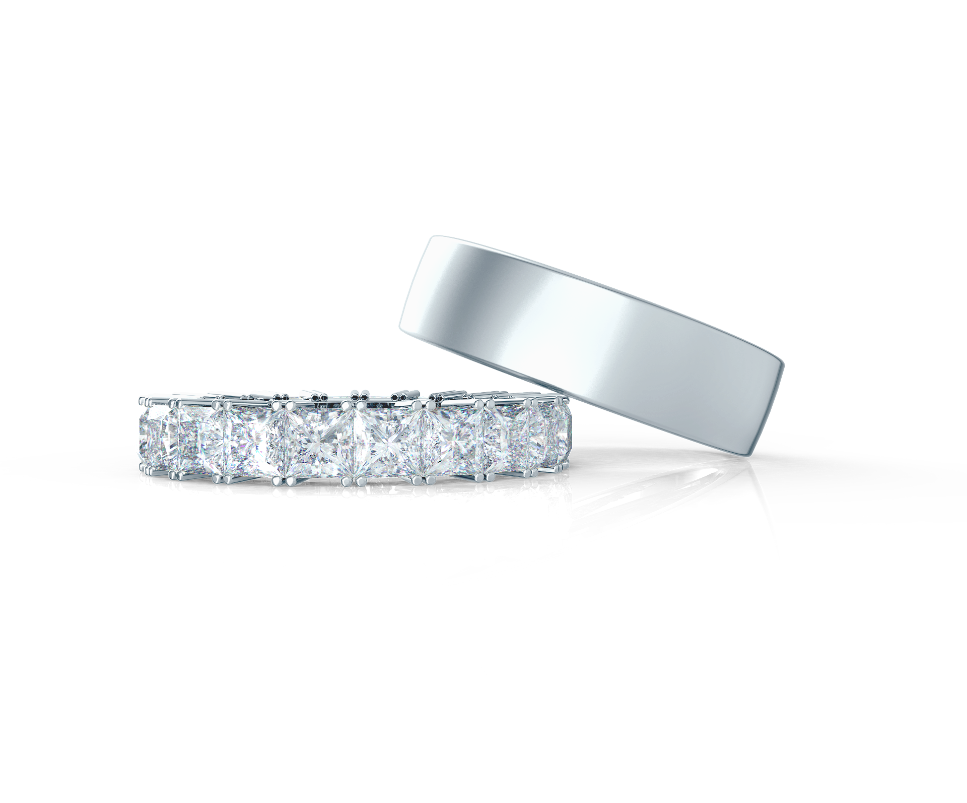 Pair your Princess Eternity Band with a Matte Flat Ring    Shop Now