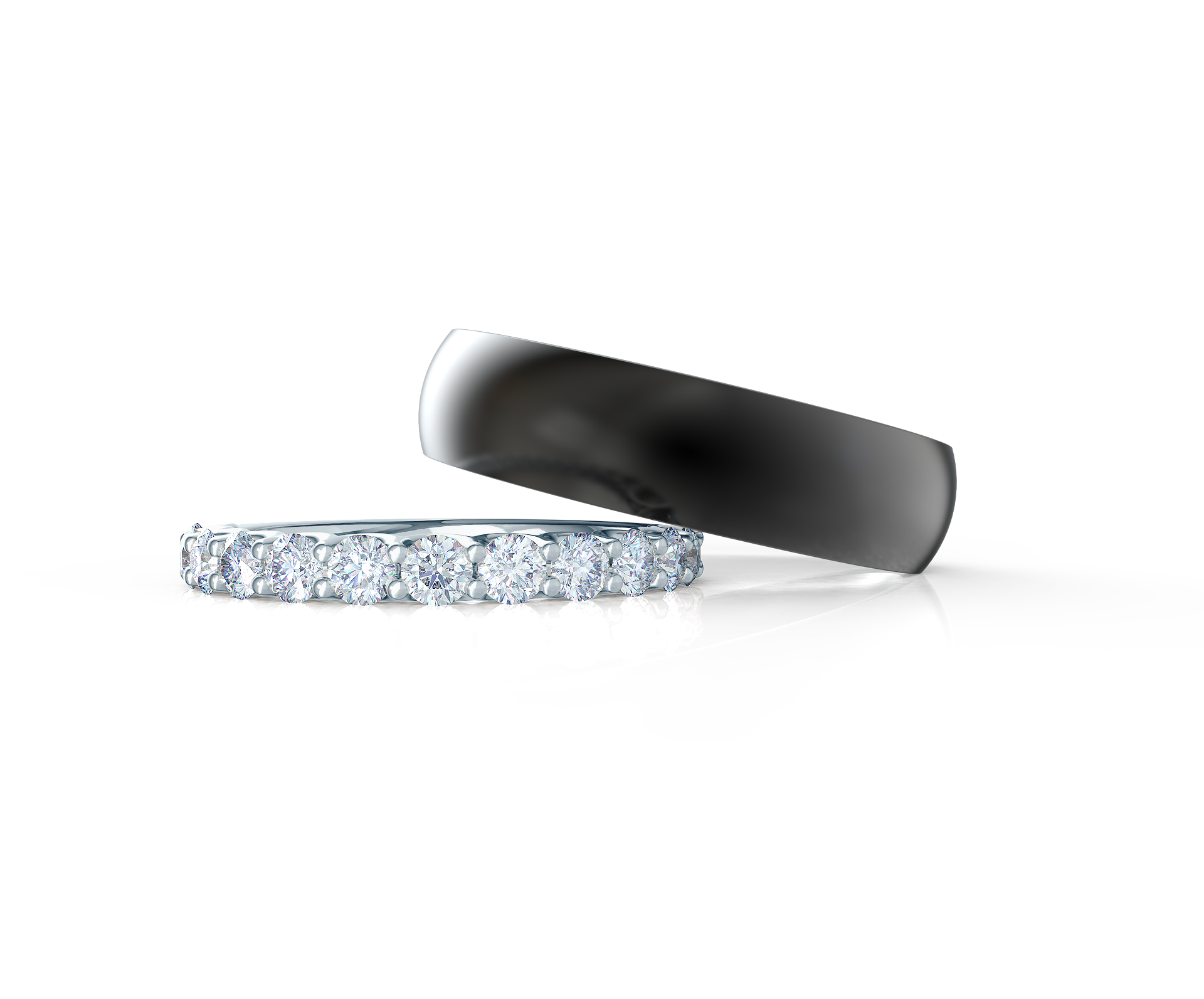 Pair your Narrow Matte Rounded Polydiamond Ring with a French U Half Band    Shop Now