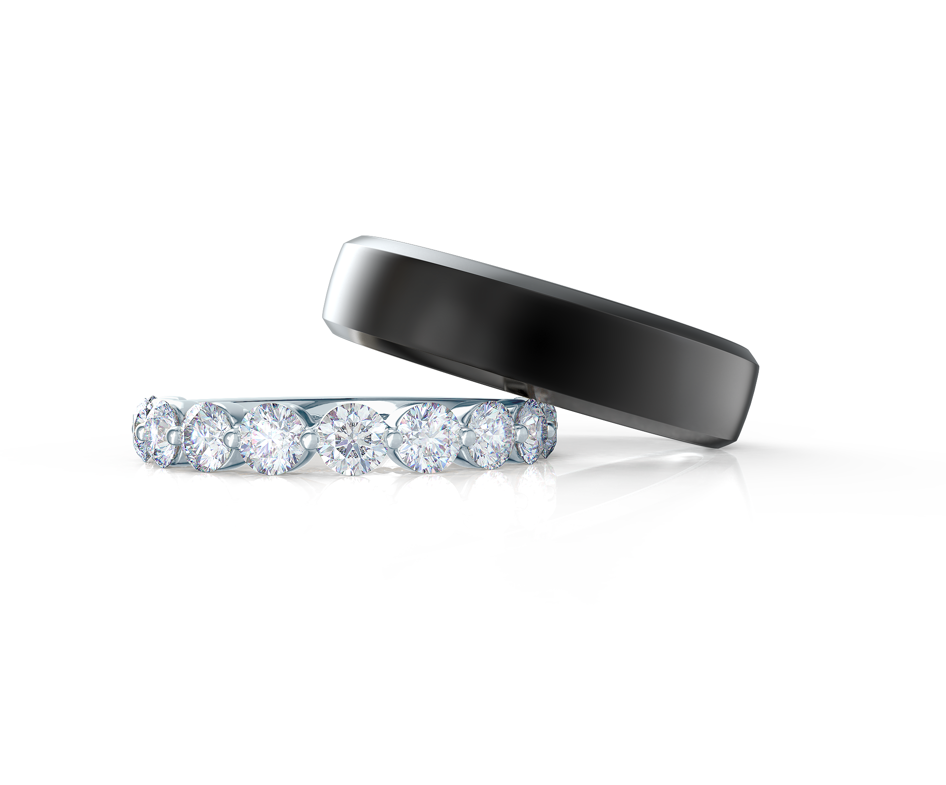 Pair your Narrow Matte Beveled Polydiamond Ring with a Shared Prong Half Band    Shop Now