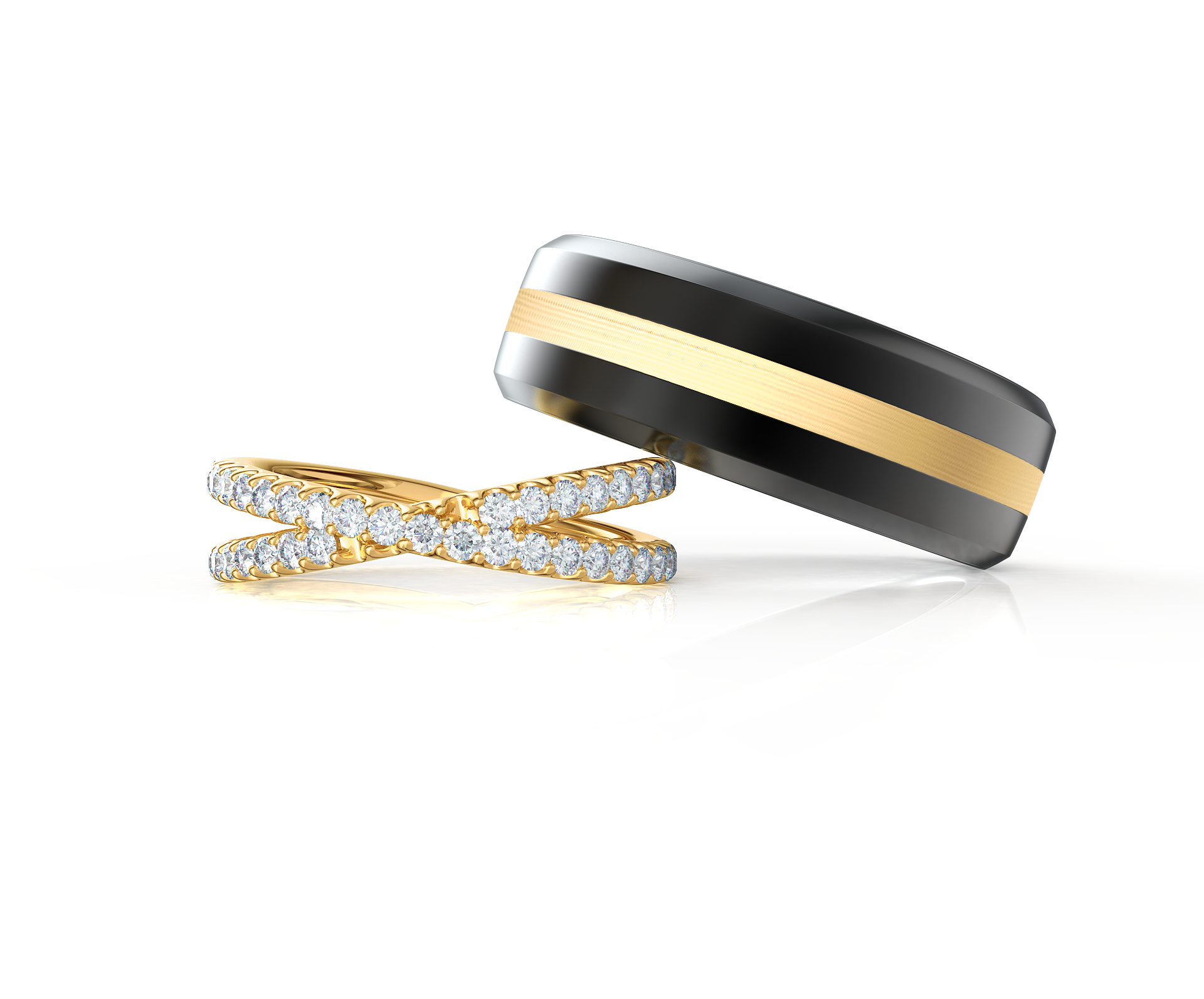 Pair your X Wedding Band with a Precious Metal Inlay Ring    Shop Now