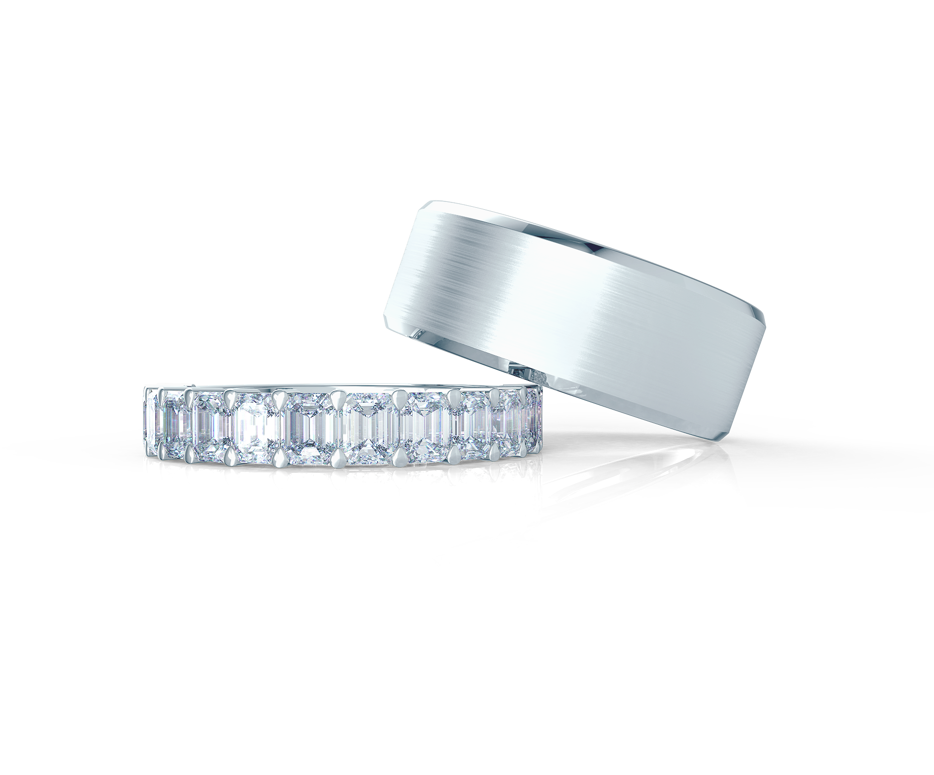 Pair your Emerald Half Band with a Matte Beveled Ring    Shop Now