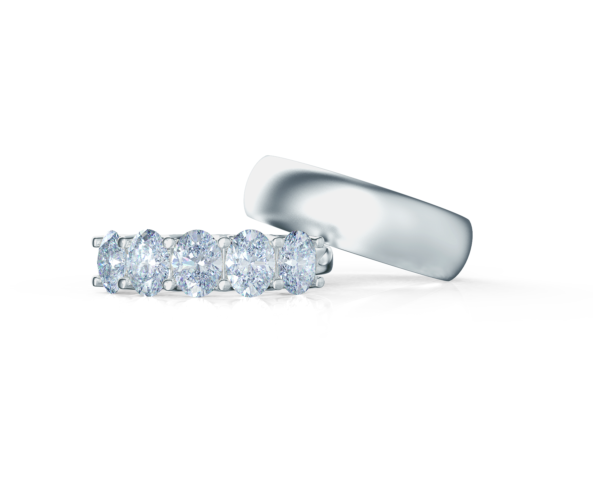 Pair your Oval Five Stone Ring with a Matte Rounded Ring    Shop Now