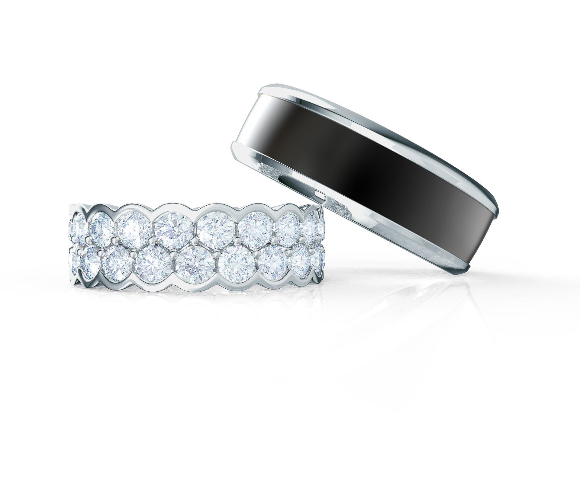 Pair your Two Row Bezel Ring with a Polydiamond Inlay Ring    Shop Now