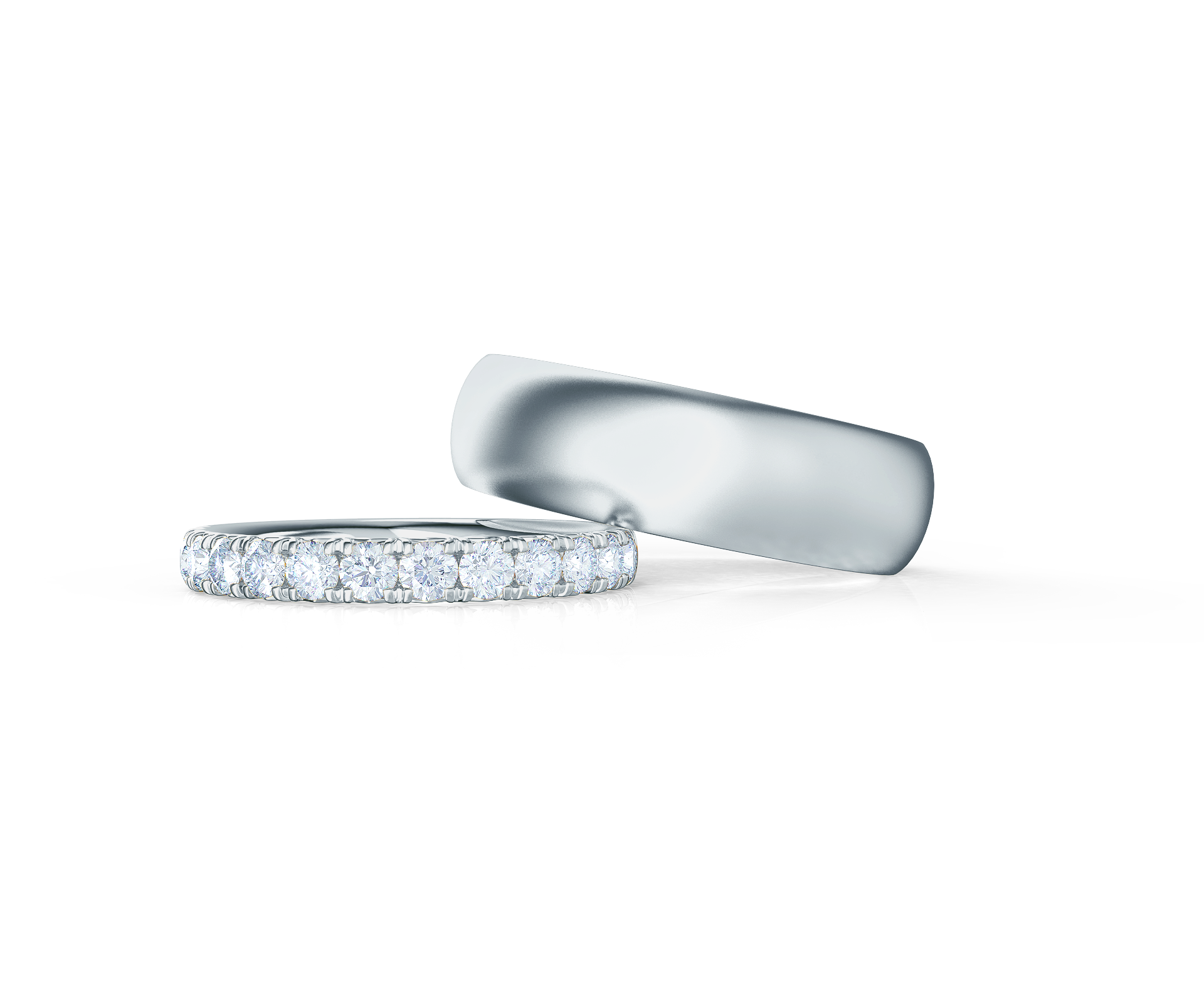 Pair your French Pavé Half Band with a Matte Rounded Ring    Shop Now