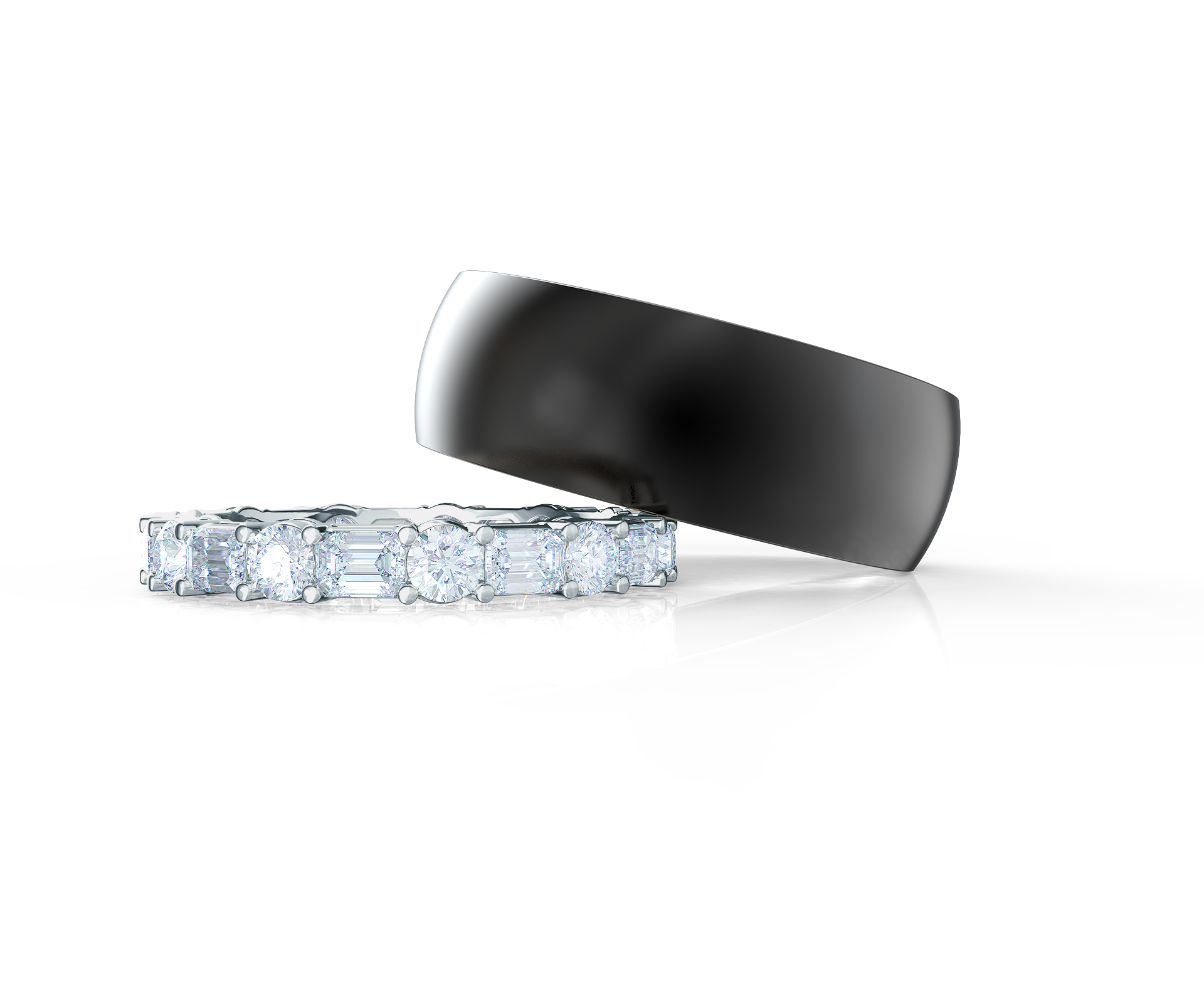 Pair your East West Emerald and Round Band with a Rounded Polydiamond Ring    Shop Now