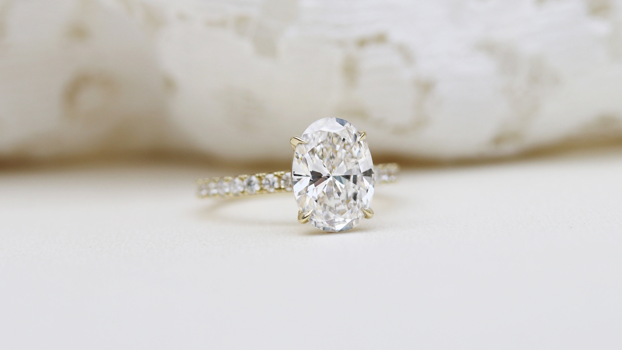 oval pave lab diamond engagement ring Ada Diamonds
