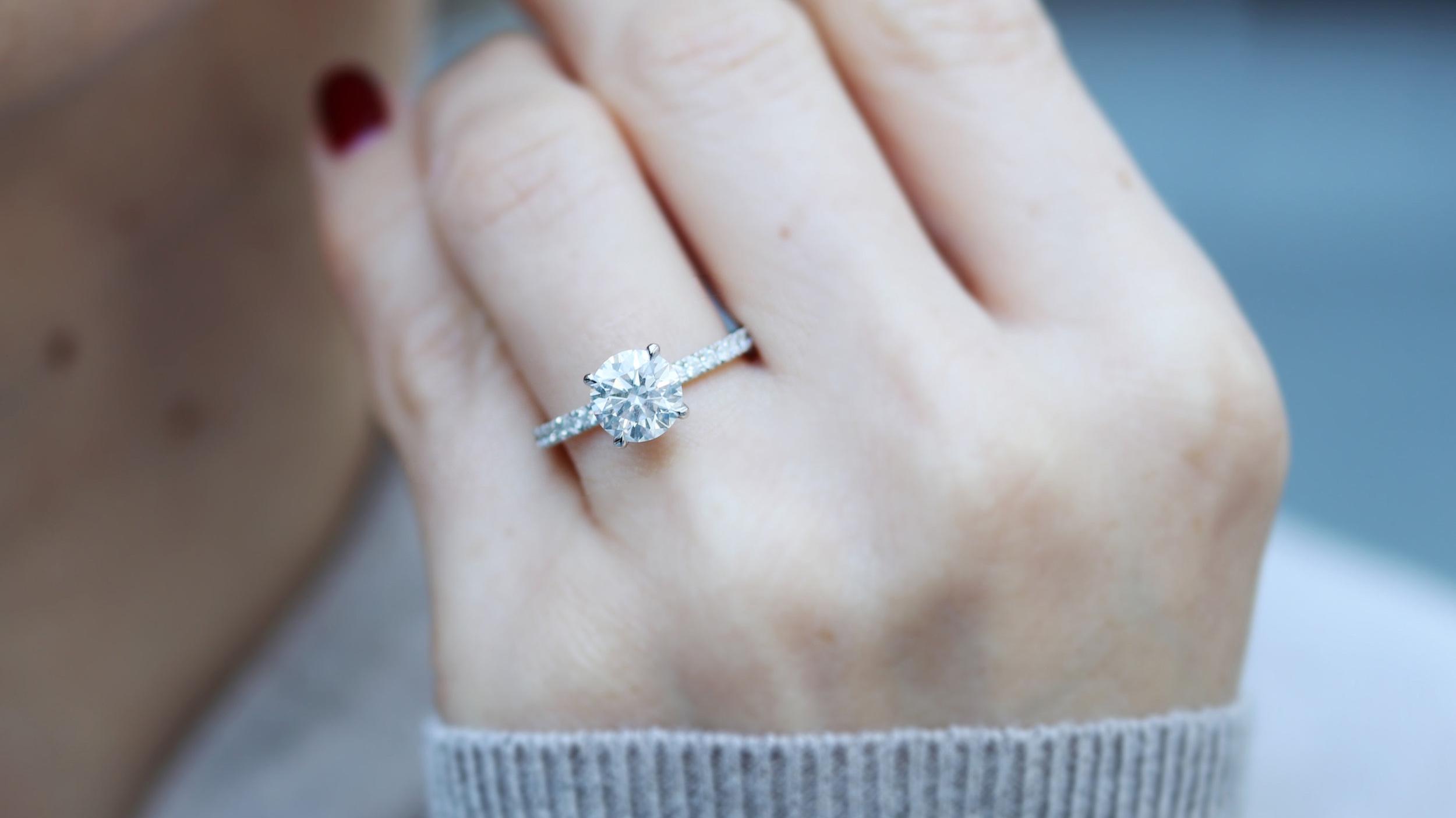 custom lab diamond pavé band engagement ring ada diamonds New York