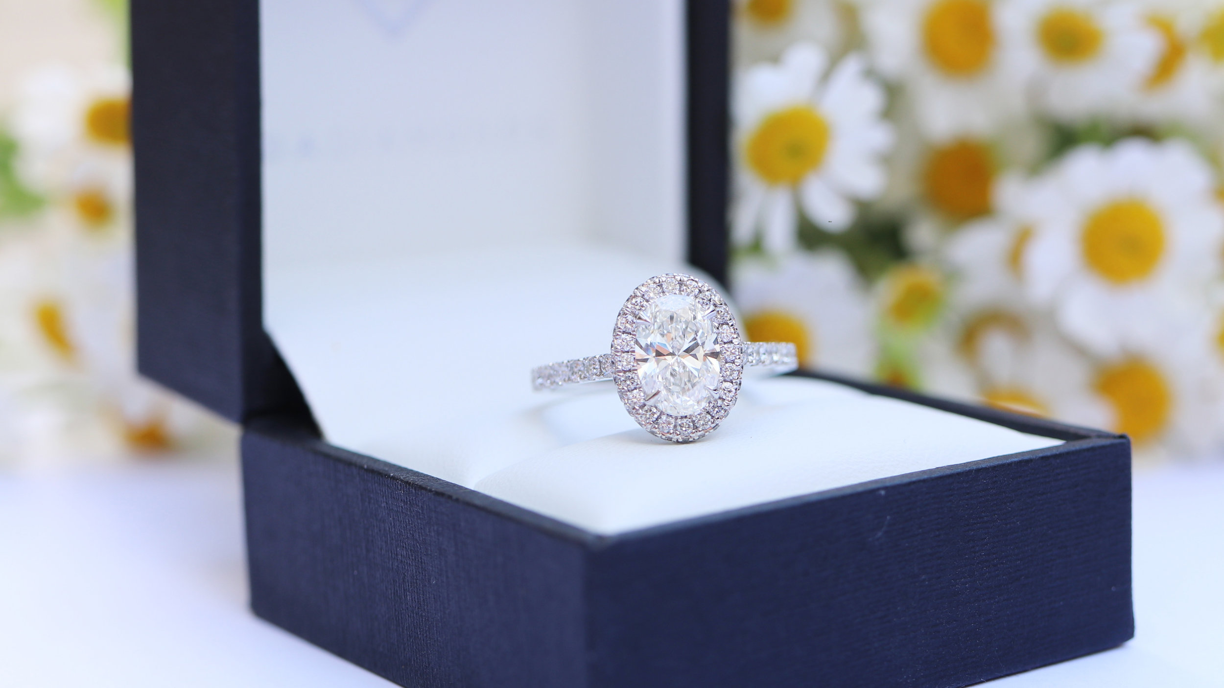 oval halo lab diamond engagement ring ada diamonds new york