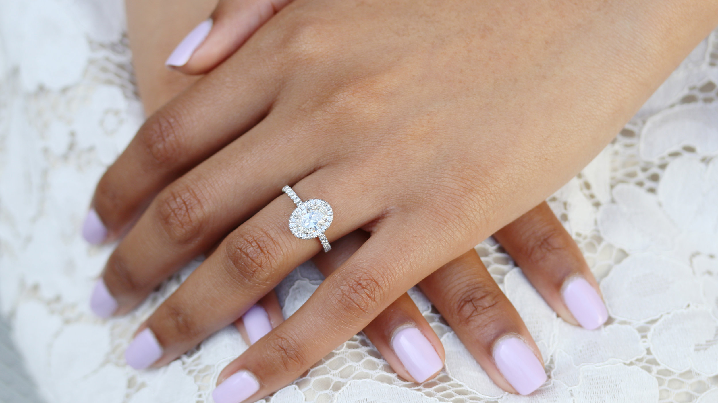 one carat oval lab diamond engagement ring