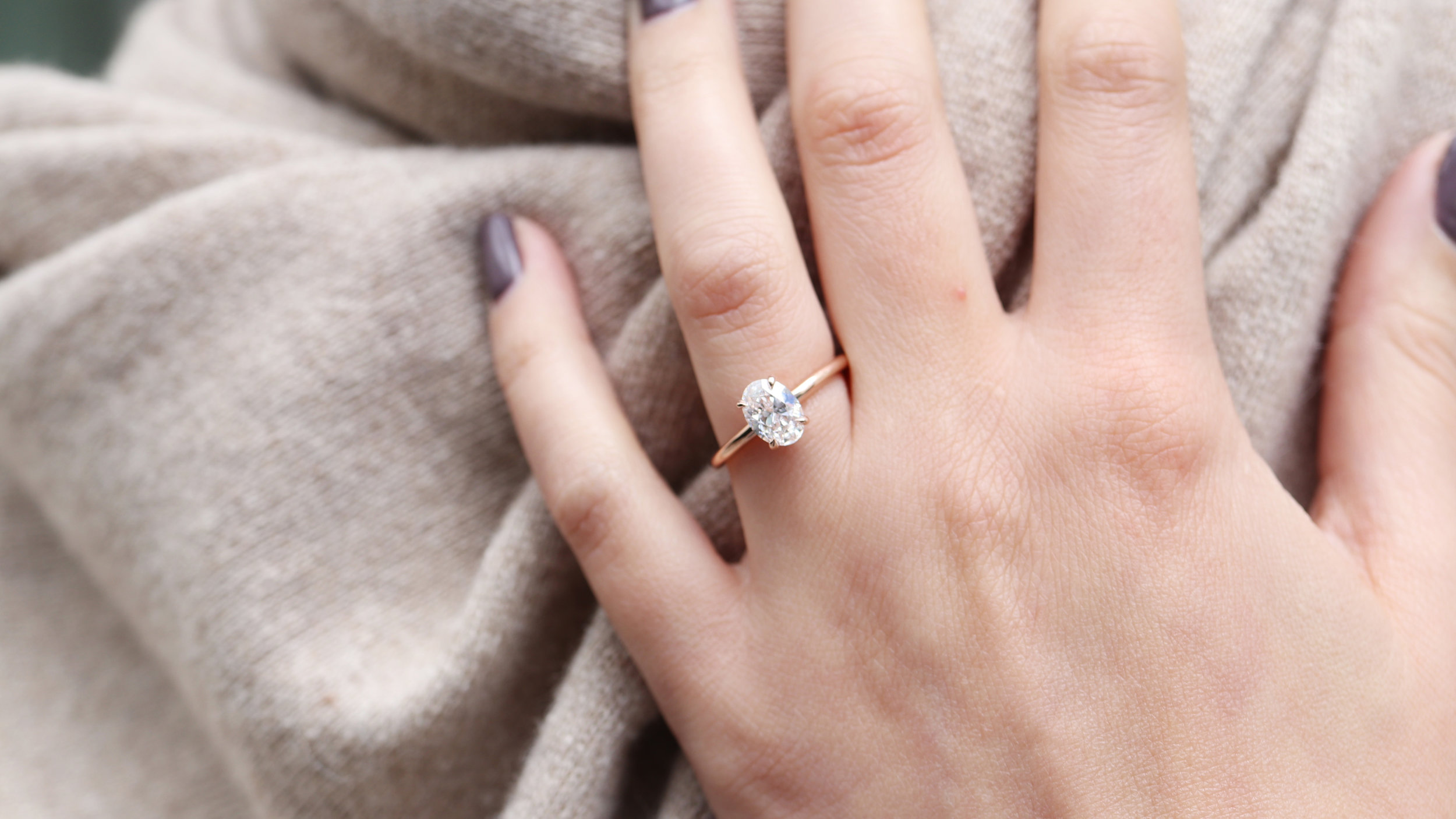 oval one carat solitaire lab diamond engagement ring