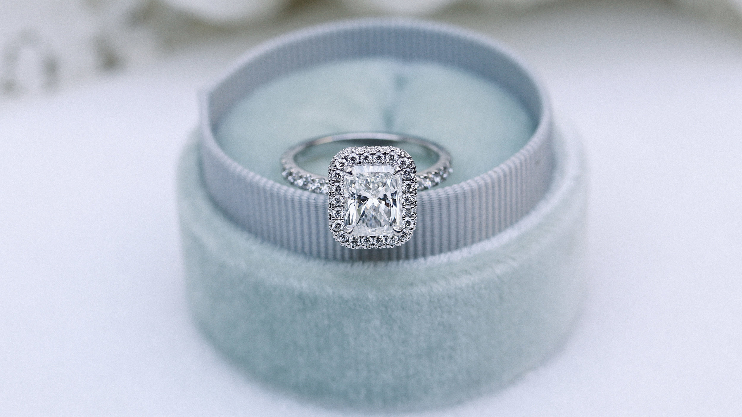 radiant cut halo lab diamond engagement ring ada diamonds