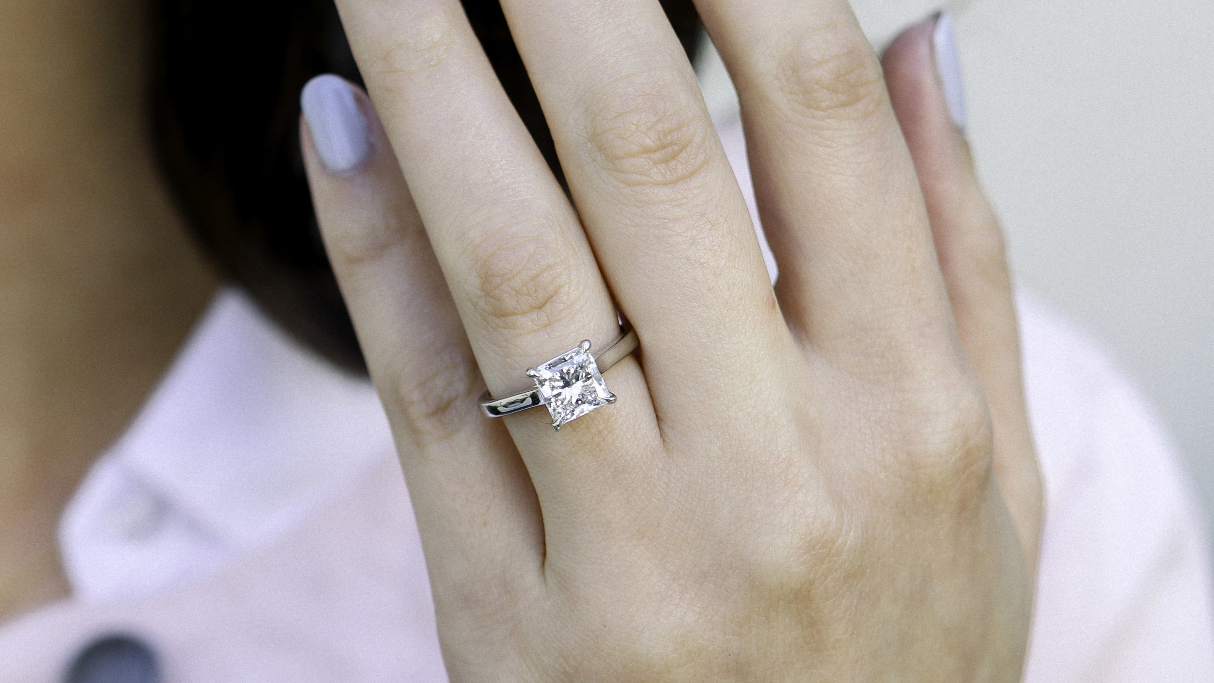 Princess cut lab diamond solitaire engagement ring platinum Ada Diamonds
