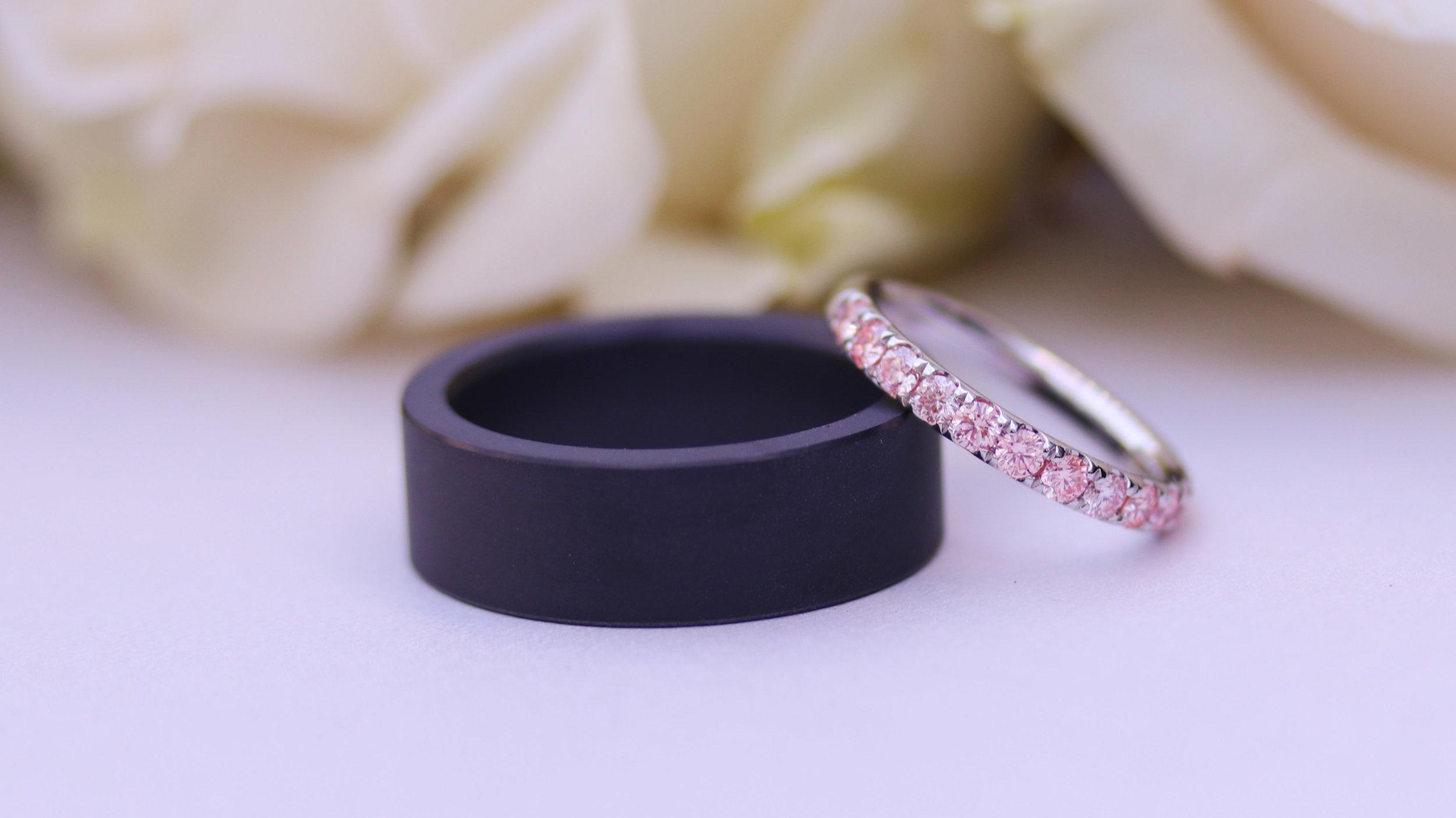 fancy pink lab diamond wedding ring