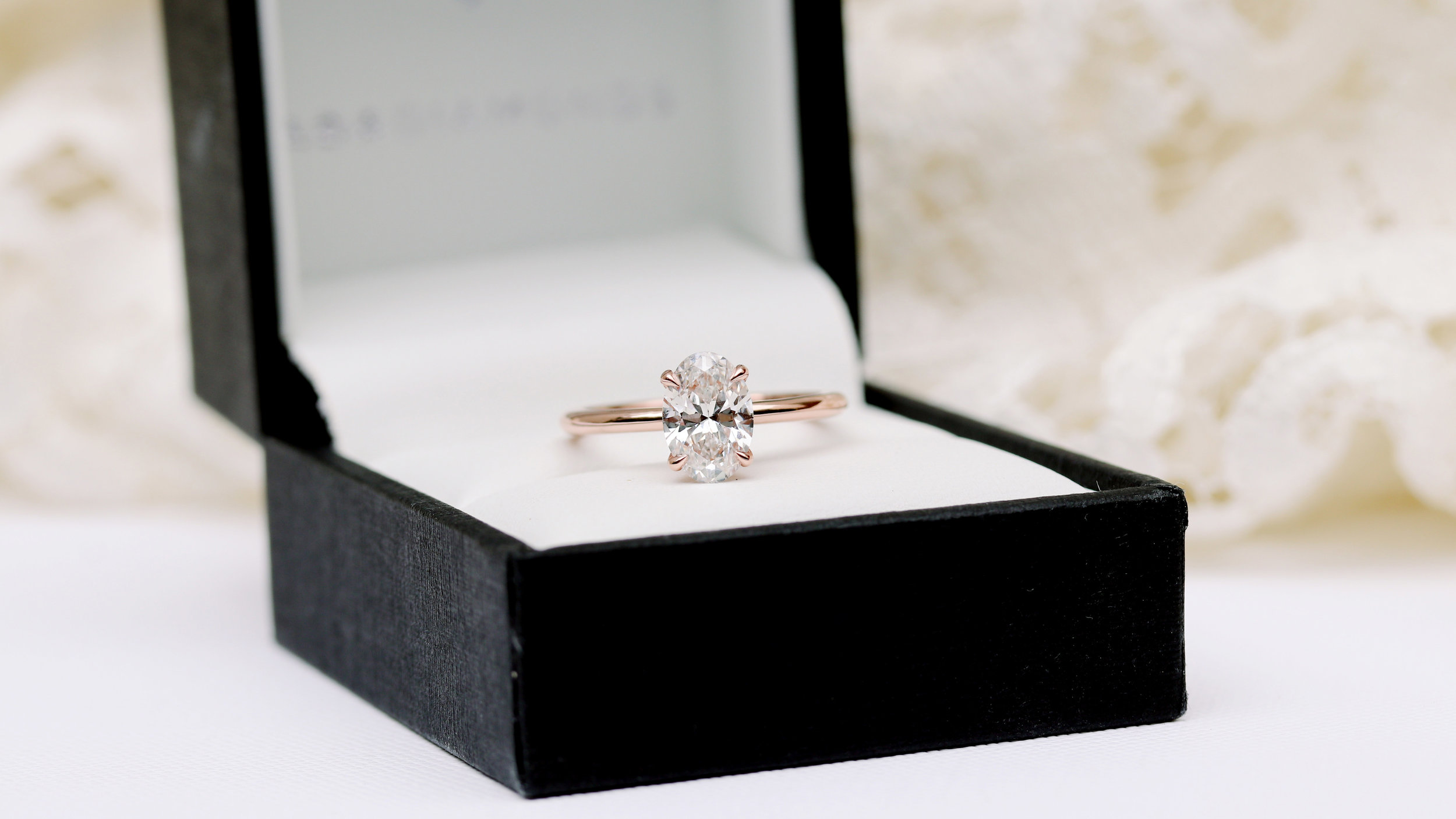 Rose gold round lab diamond solitaire engagement ring