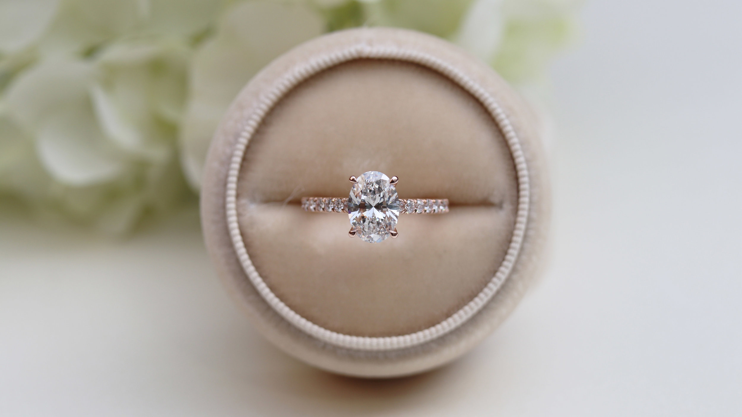 Ada Diamonds Top of the World Rose Gold Lab Diamond Engagement Ring with lab diamond halo and lab diamond band