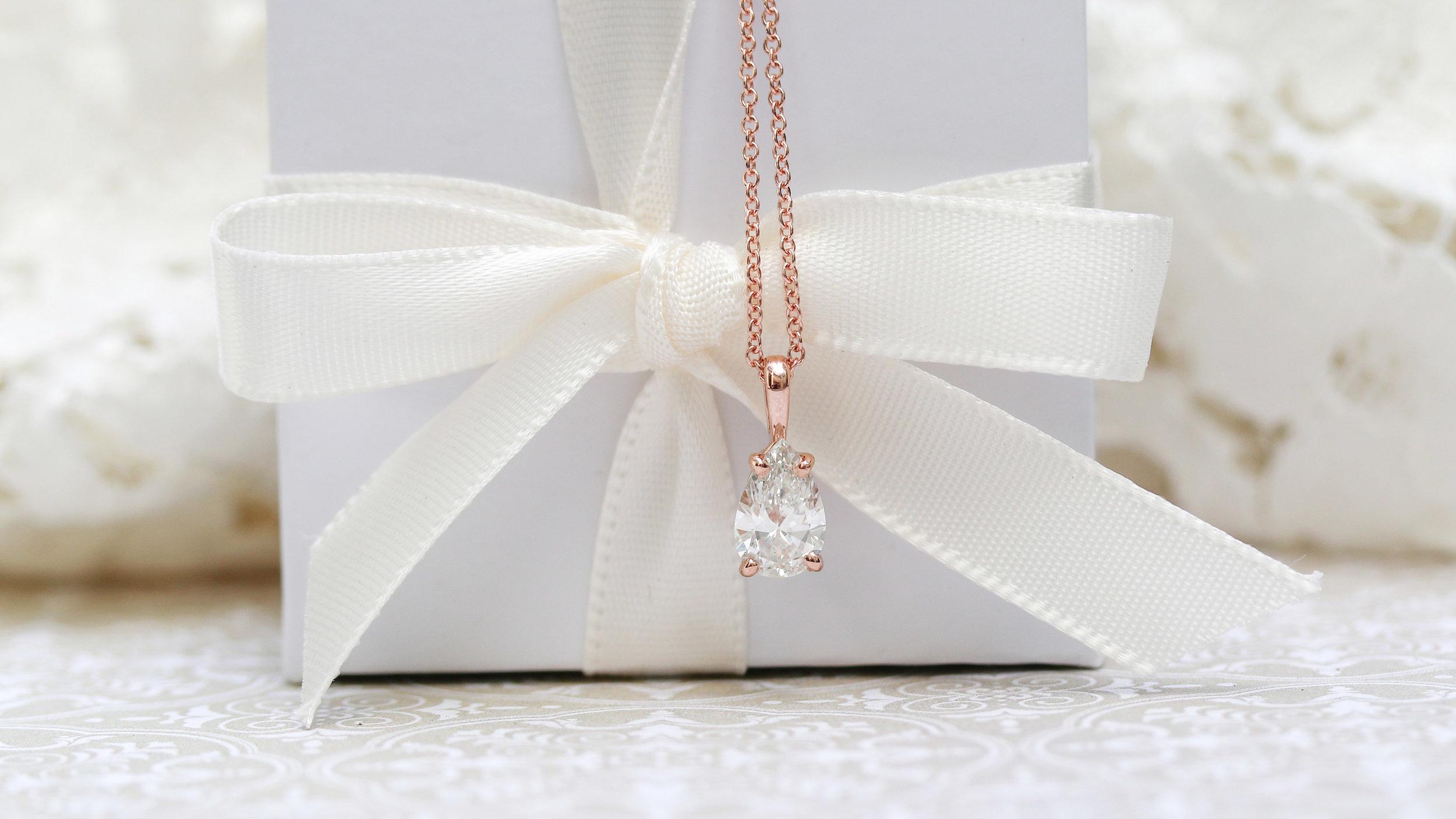 Split bale lab diamond solitaire pendant necklace in rose gold
