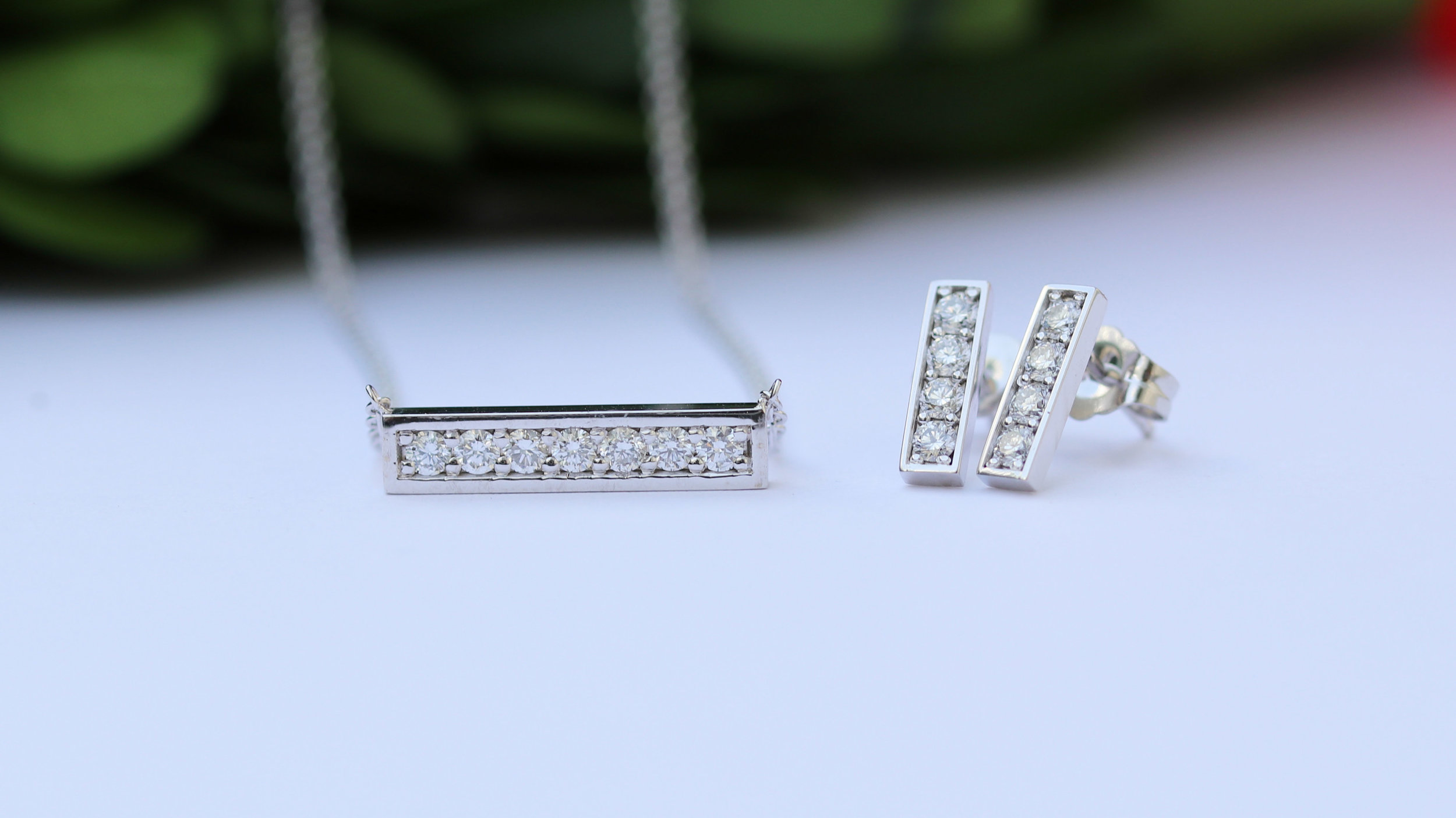 lab diamond pendant necklace and lab diamond drop earrings in white gold ada diamonds new york
