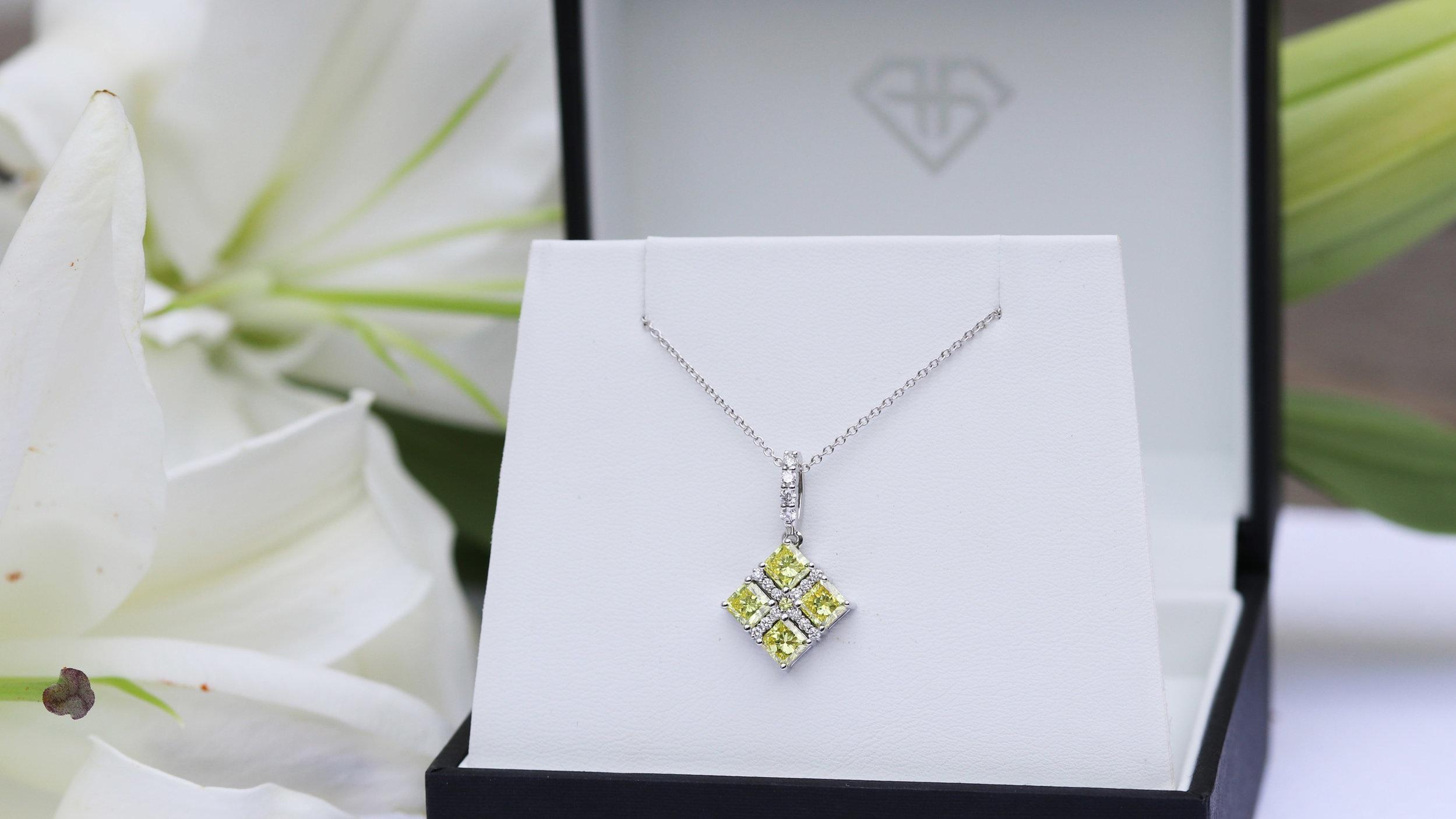 Fancy yellow lab diamond wedding band