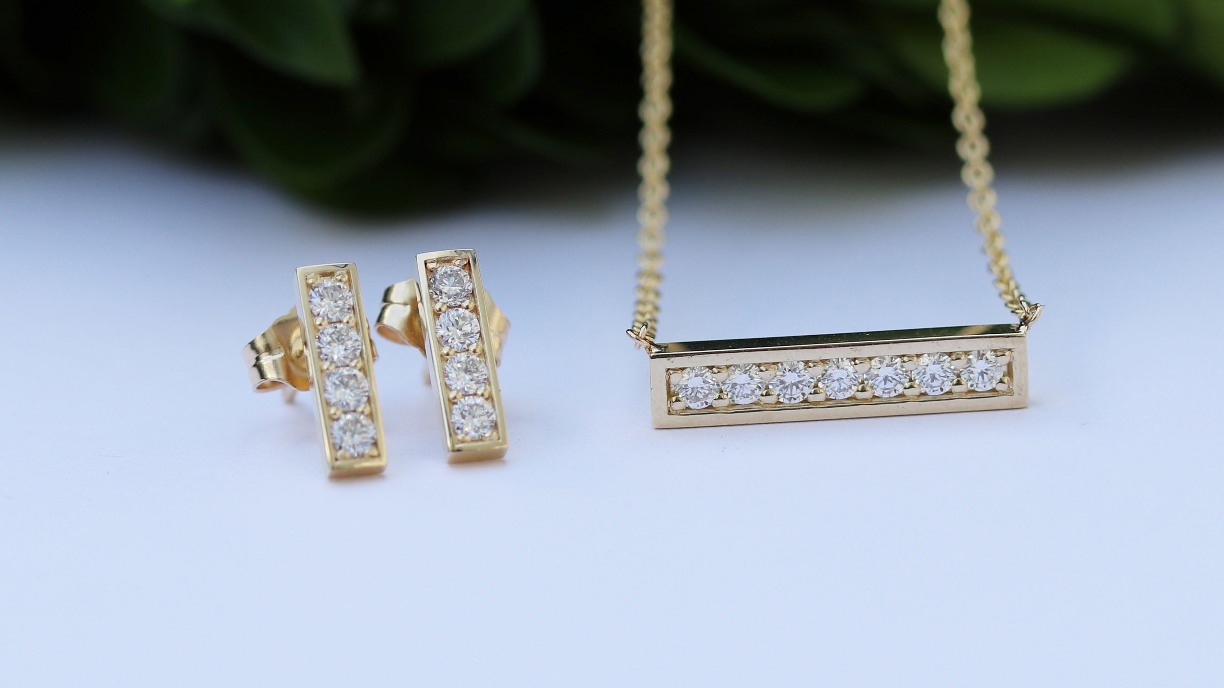 lab diamond bar earrings and bar pendant necklace Ada Diamonds
