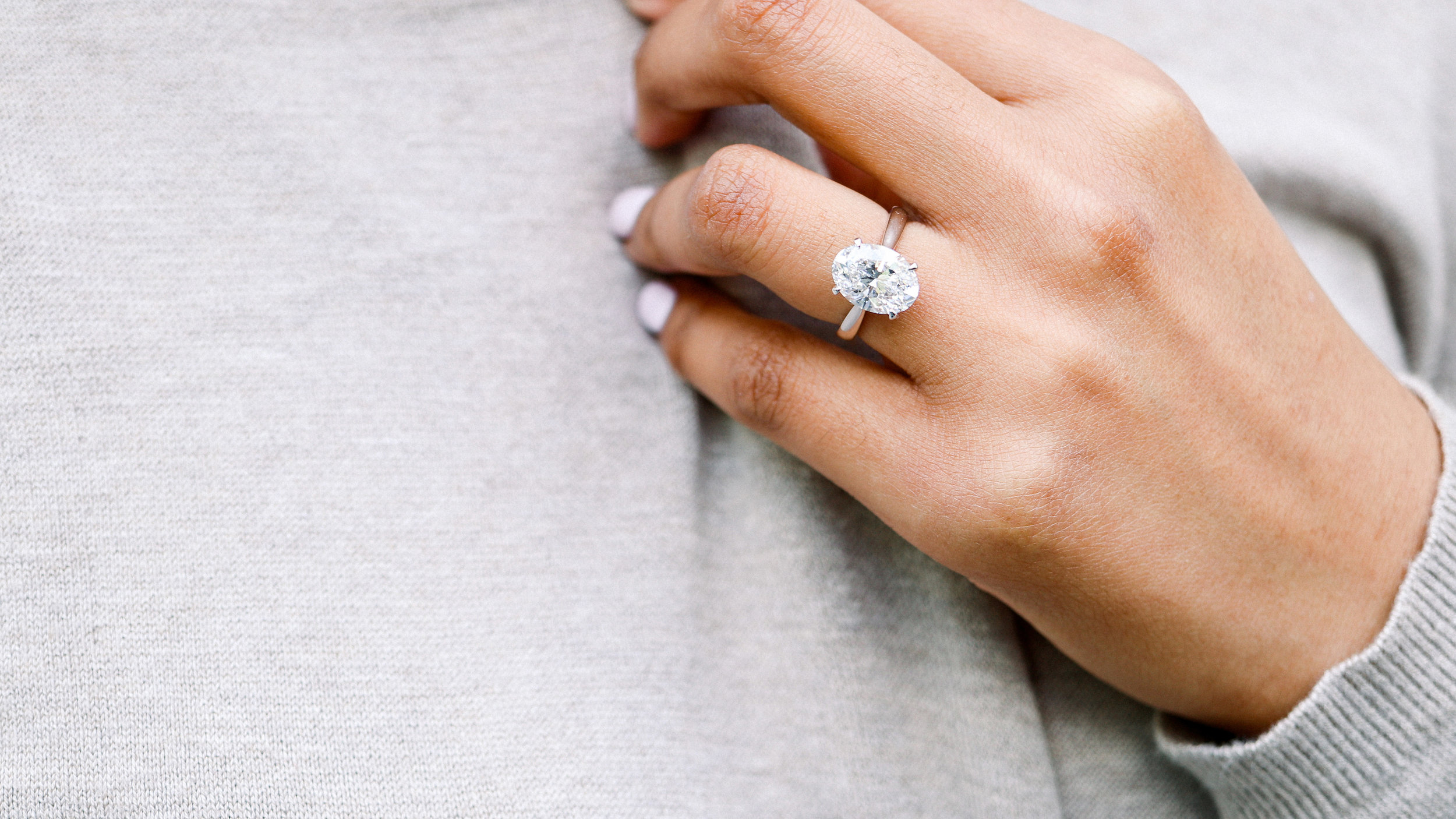 Upgraded Diamond and Engagement Ring Lab Created Diamonds Custom Tapered Oval Solitaire
