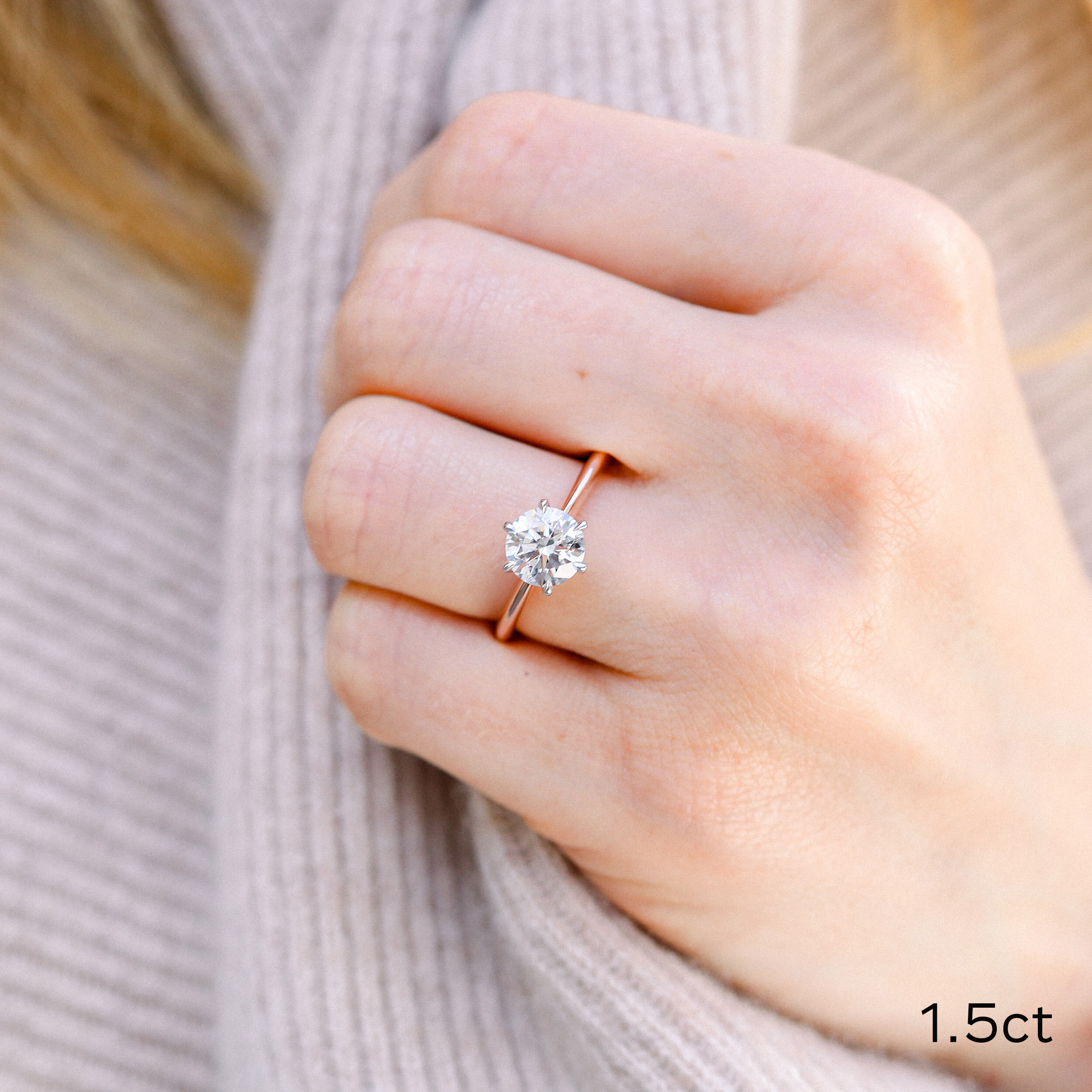 Classic Six Prong Solitaire Custom Lab Diamond Engagement Ring