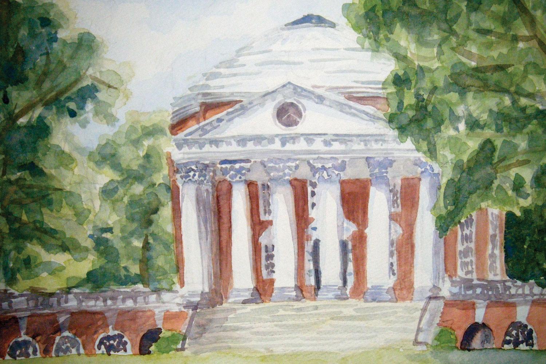 Watercolor of the Rotunda at the University of Virginia.