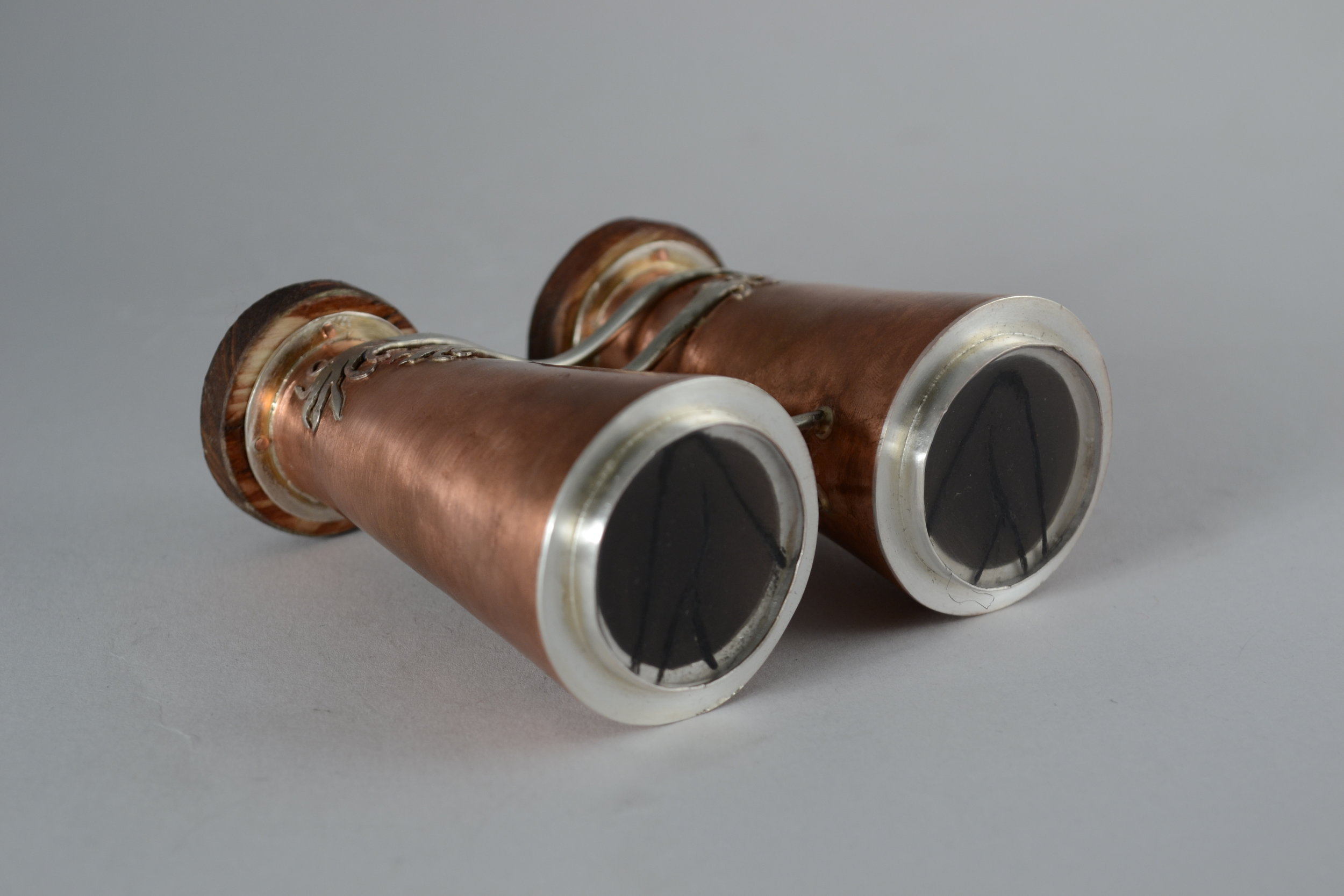 sextacles for duchamp |  formed copper, sterling silver, bezel set plexiglass, india ink, wood
