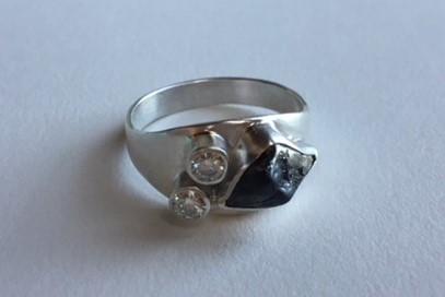 engagement ring | diamonds, meteorite, sterling silver