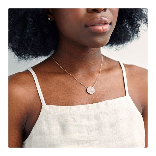 What's more summer-y than this? ✨This Terra Coin is inlaid with crushed mother of pearl shell, reminding me of time spent at the beach. A few remain available only on www.ofakind.com - @ofakind #clay_inlay • • • • • #handcraft #marionwildnyc #marionwild #shoppable #slowfashion #slowcraft #scadgrad #scadjewelry #ofakind #myofakind #exclusive #collaboration #emergingbrand #emergingdesigner #summerlovin #hadmeablast