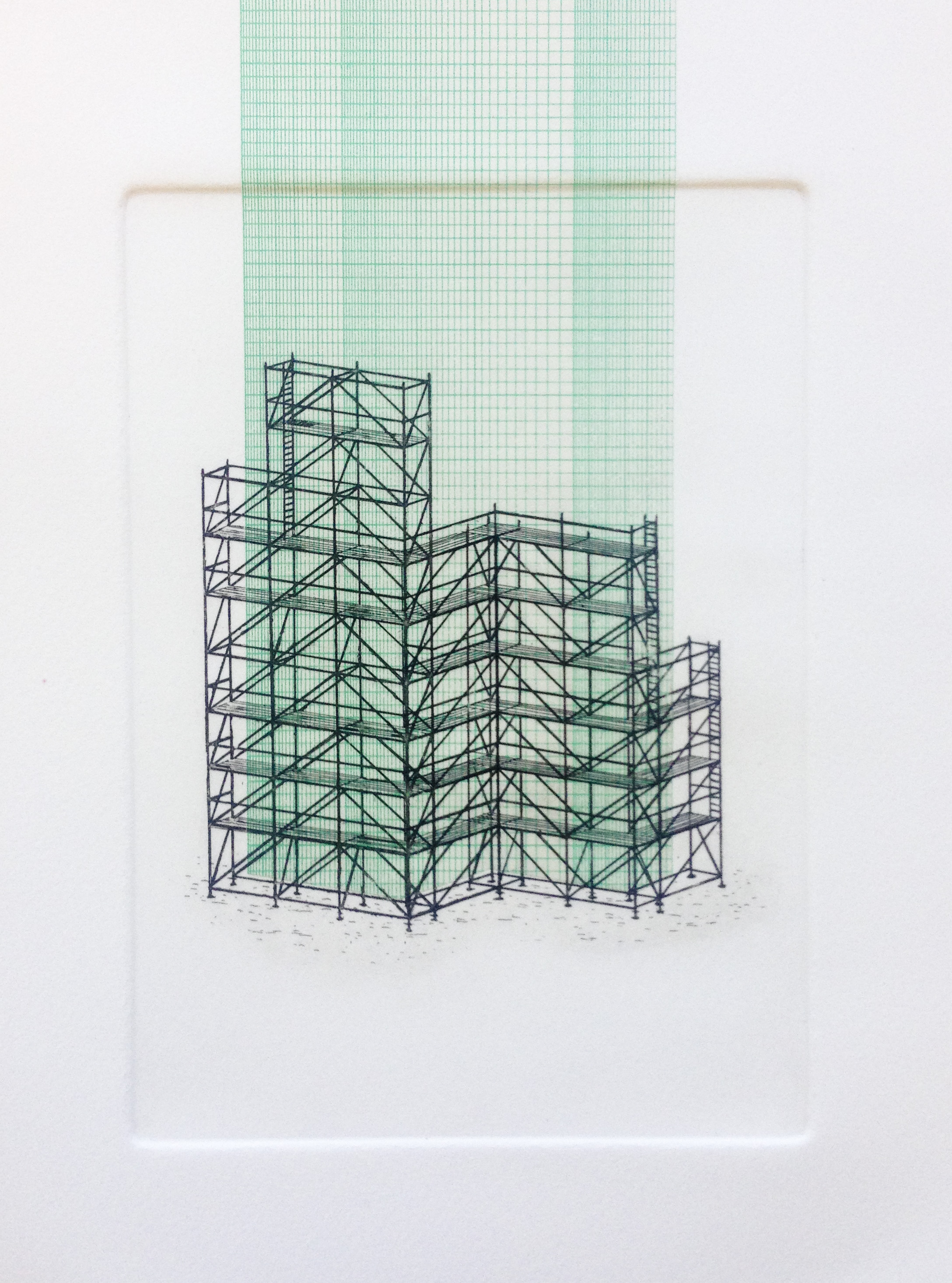 "CHRIS FOSTER  Scaffold #4 2018 Intaglio print with Chine-collé on paper 7"" x 12"", Framed Edition of 5  Estimated Value: $400  'Scaffold #4' is part of an ongoing series of prints and sculptures that explore scaffolding, abstraction and the build environment."