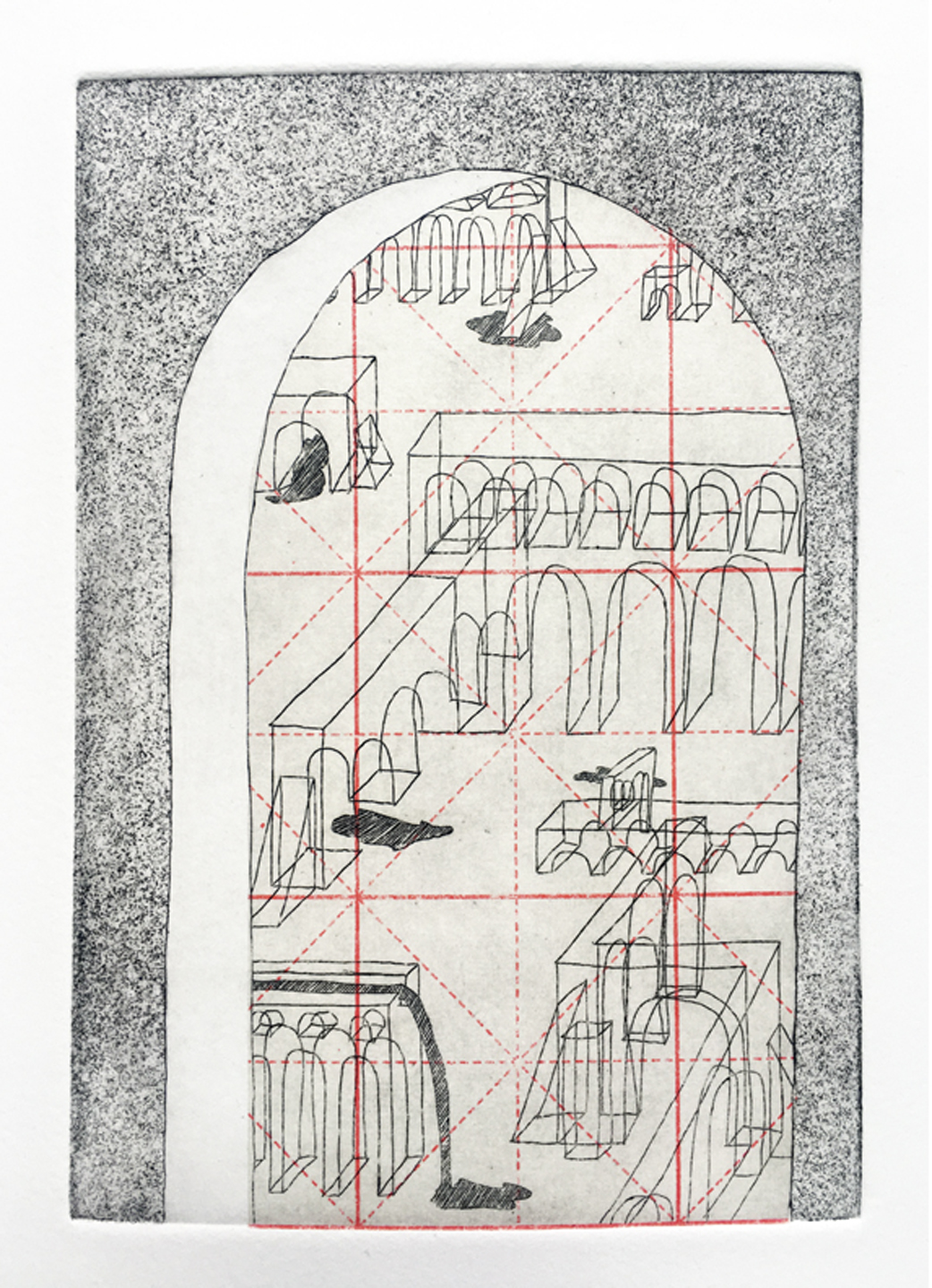 "LAYNE HINTON  Aquaducts 2018 Intaglio print with Chine-collé on paper, 10""X 13"", Framed Edition of 6  Estimated Value: $400  'Aqueducts' is a continuation of Hinton's interest in architecture, imagined spaces, and geometric structures. This work explores the reduction of architectural forms to their most basic corners and edges, an attempt to define shapes through simple wire forms and to investigate the way they become inverted in the process."