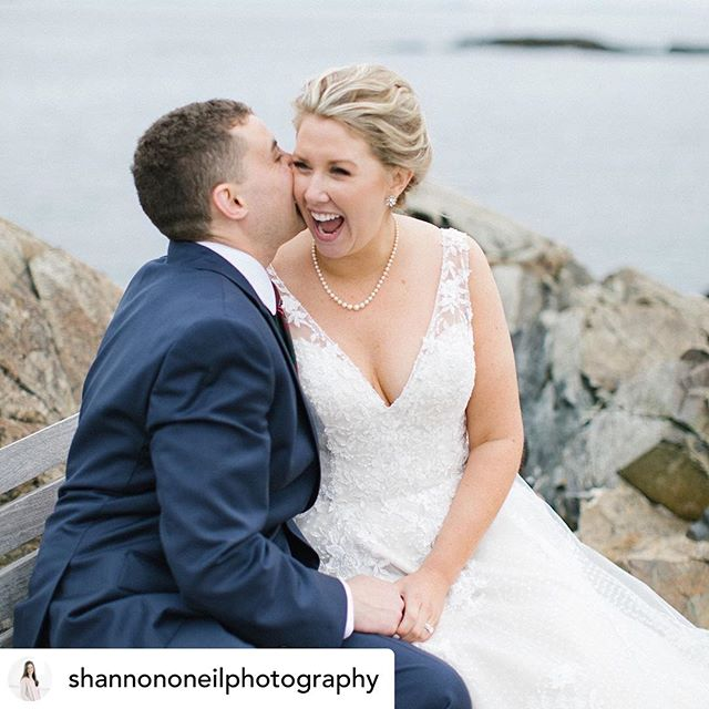 How god damn cute is this picture?! Would love to know what Pat is saying to his beautiful bride Meg ha!!! 😆 Makeup by me! Hair by @suziemellostyling 💕 Photography by @shannononeilphotography 💕  Posted @withrepost • @shannononeilphotography Would you all like to hear how my couples met one another?!? I am going to be starting a series where I am featuring my couples and having them tell you how their love story began! I can't wait to share their stories with you all! So stay tuned!