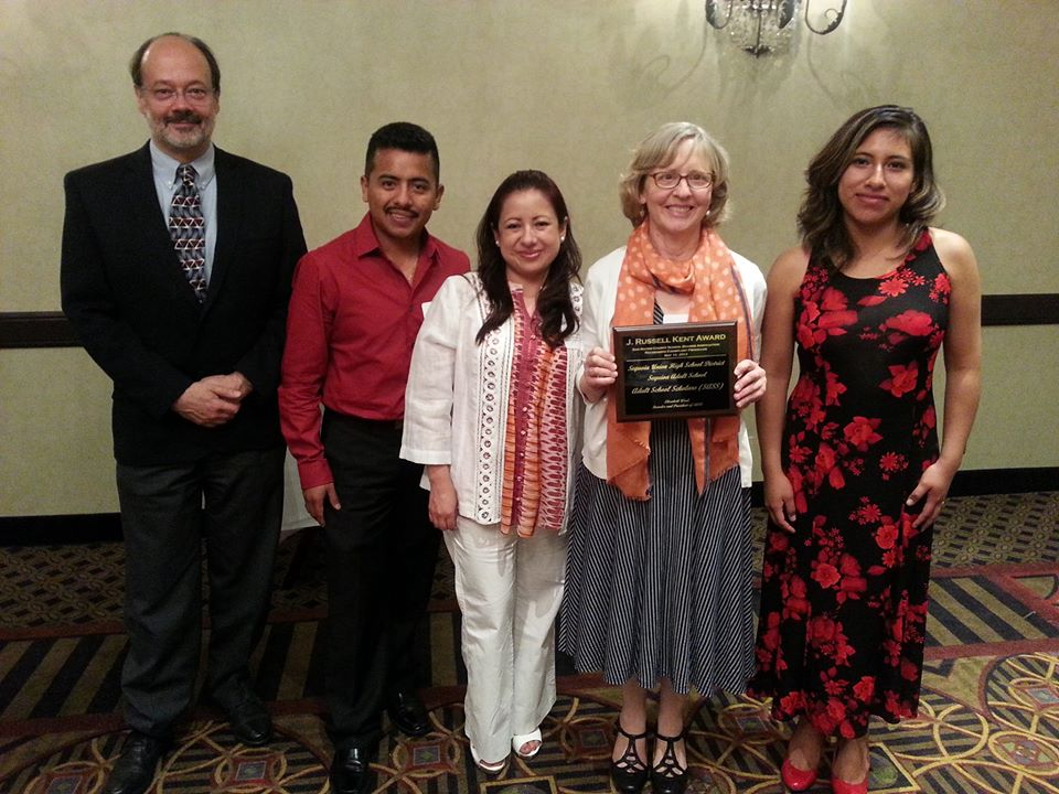 Attending the awards dinner are (from left to right) Lionel de Maine, Chief Operations Officer, Sequoia District Adult School; SASS recipient Mauro Barrera; SASS recipient Rosa Mendoza; SASS President Elizabeth Weal; and SASS recipient Roxana Elizabeth Chicas.