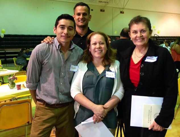 Several SASS recipients who earned a scholarshipattended Cañada's scholarship event in May. (From left to right: Amado Flores, Moises Bautista, Maria Aguilar, and Maria Anaya-Rodriguez)