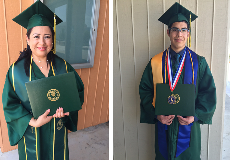 From left to right, graduate Rosa Mendosa and Rick Jeffrey Alarcon Sisniegas
