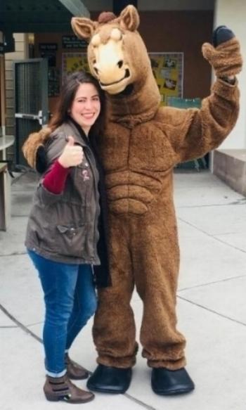 Upward Scholars student Griselda Mayen with Cory, the Cañada College mascot