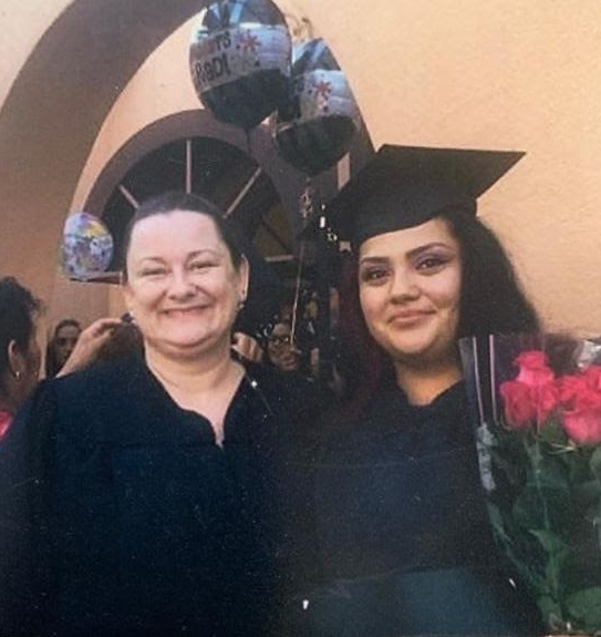 Rosa with her high school diploma teacher, Rhea Dryer, at the Sequoia Adult School graduation.