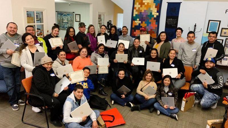 The February 22 Upward Scholars laptop celebration.                                                                                                                                   Photos courtesy of Upward Scholars student Marta Marcos.
