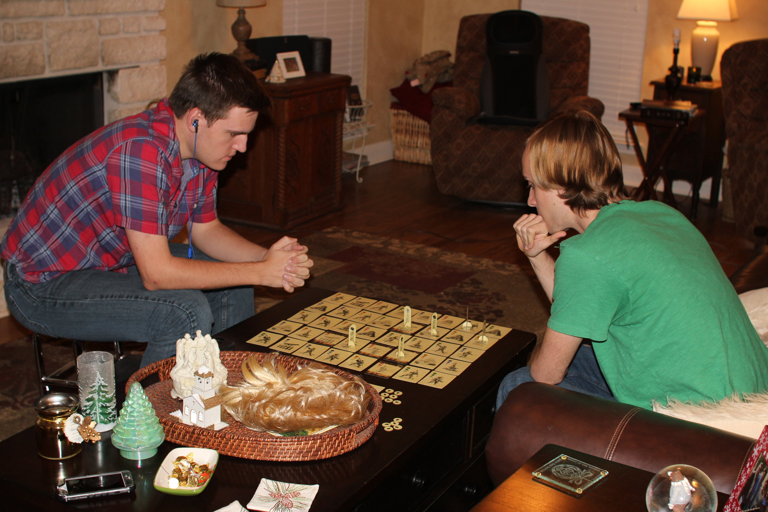 Trip and Garrett contemplate their moves in a game of  Shoudo