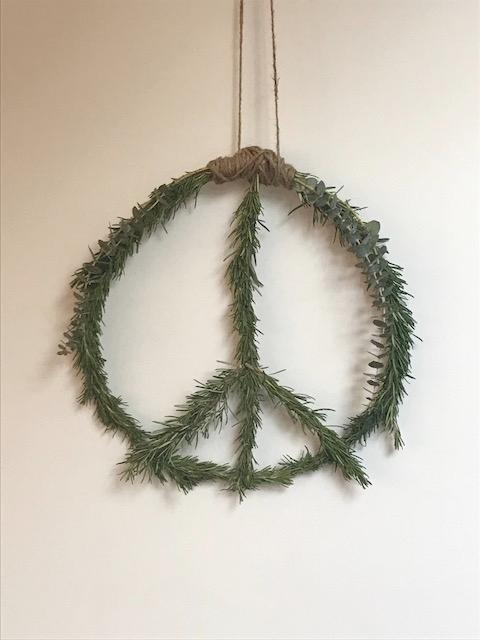 DIY rosemary peace wreath.