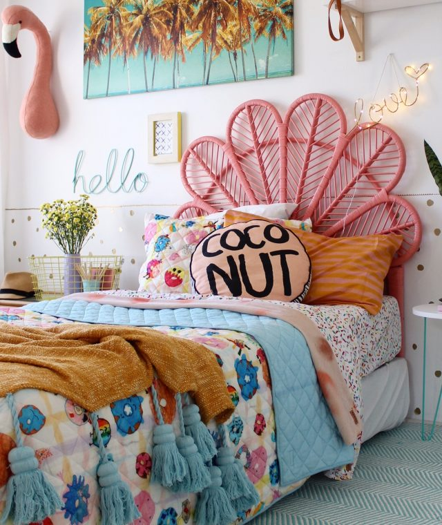 Ness who lives on the sunny coast of Australia, designed this room for her daughters. A curated boho room, filled with bright playful colors and textures. For more cuteness overload head to Ness's  blog.