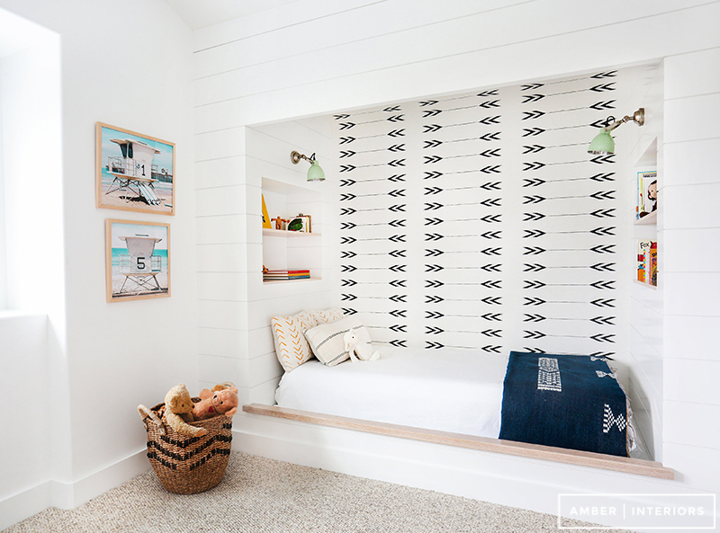 This room was designed by one of my favorite designers Amber Lewis, from  Amber Interiors . I love the custom built in bed, with the wall paper. It makes the room appear so much bigger.