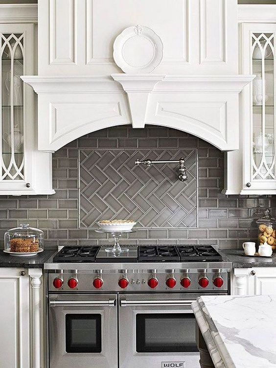 11) Mixed  Why not mix a few styles together to define a certain area like this stove backsplash. The possibilities for this are endless! Image via  Pinterest .