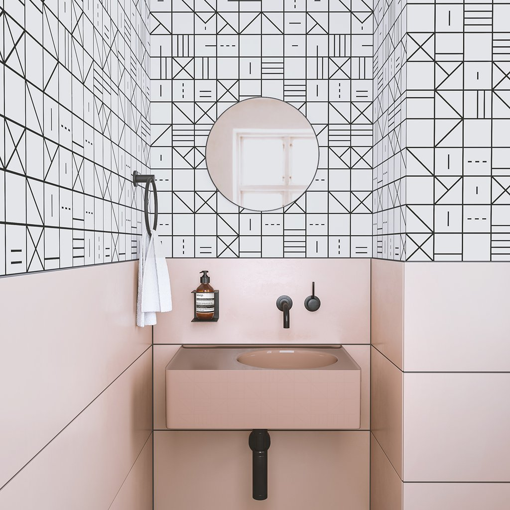 Geometric wallpaper. This company has the coolest patterns! https://popixdesigns.com/popixblog/2018/8/20/my-new-favorite-wallpaper-company