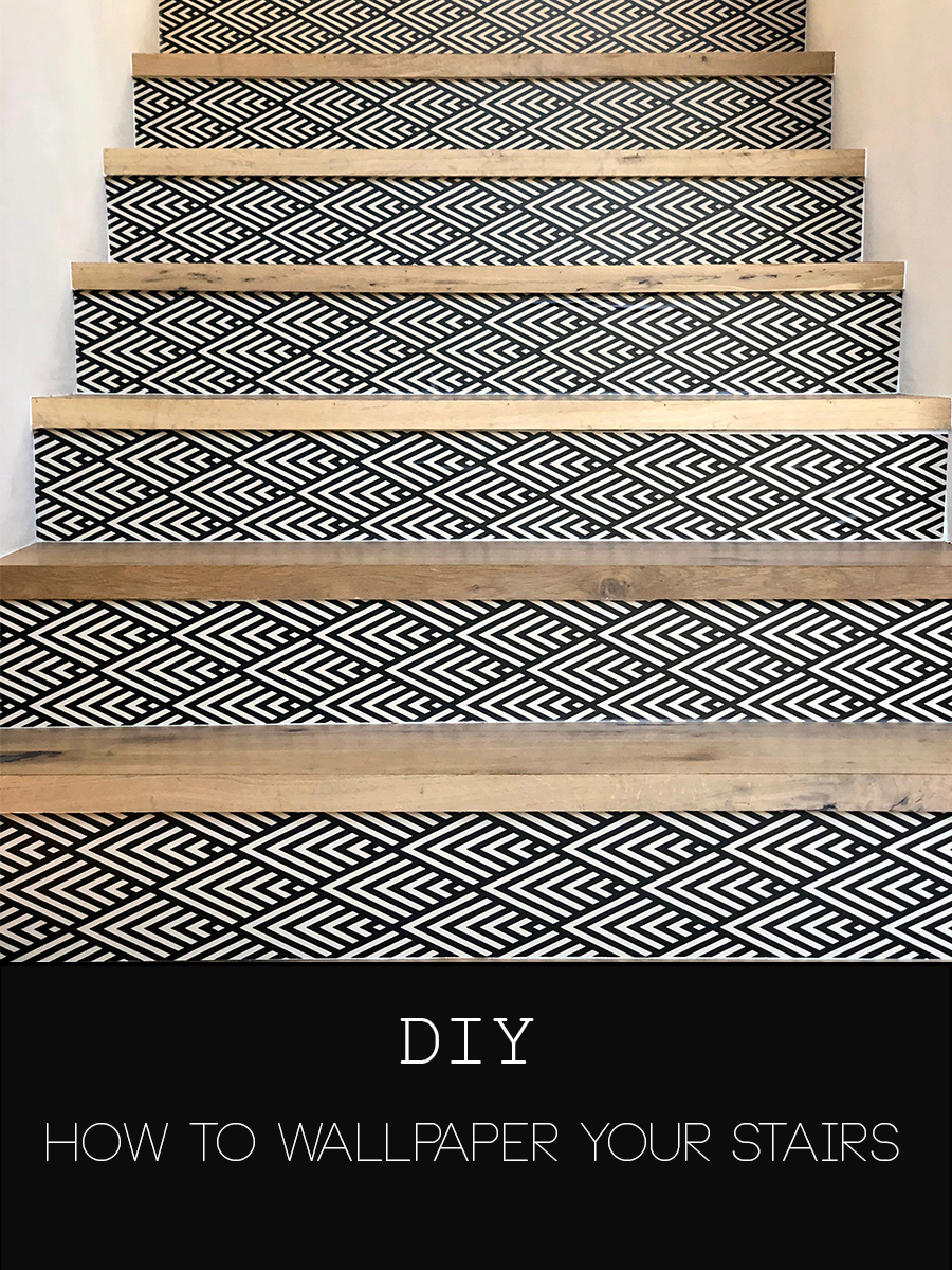 DIY how to wallpaper your stairs https://popixdesigns.com/popixblog/2018/5/14/diy-wallpaper-stairs