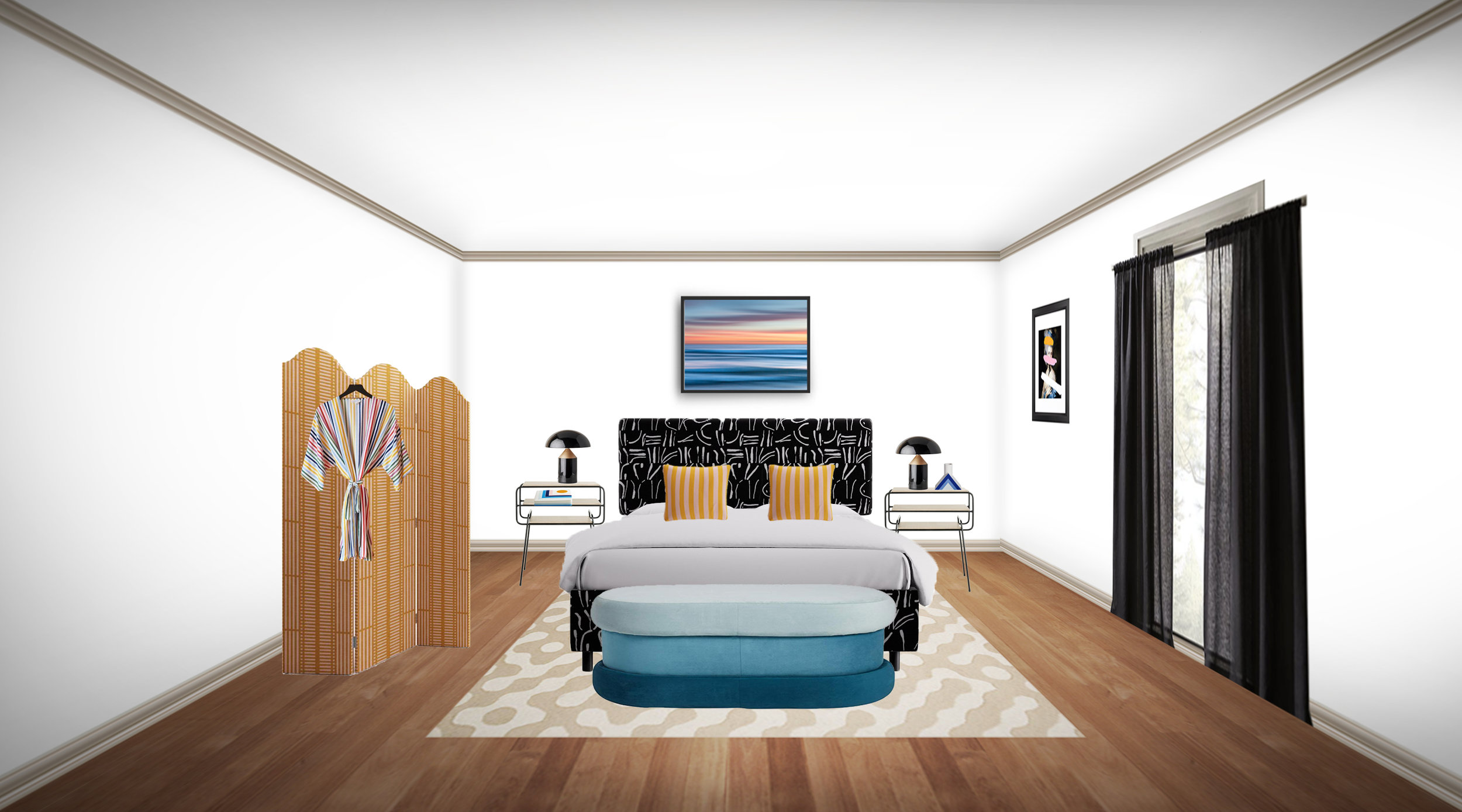 A colorful bedroom