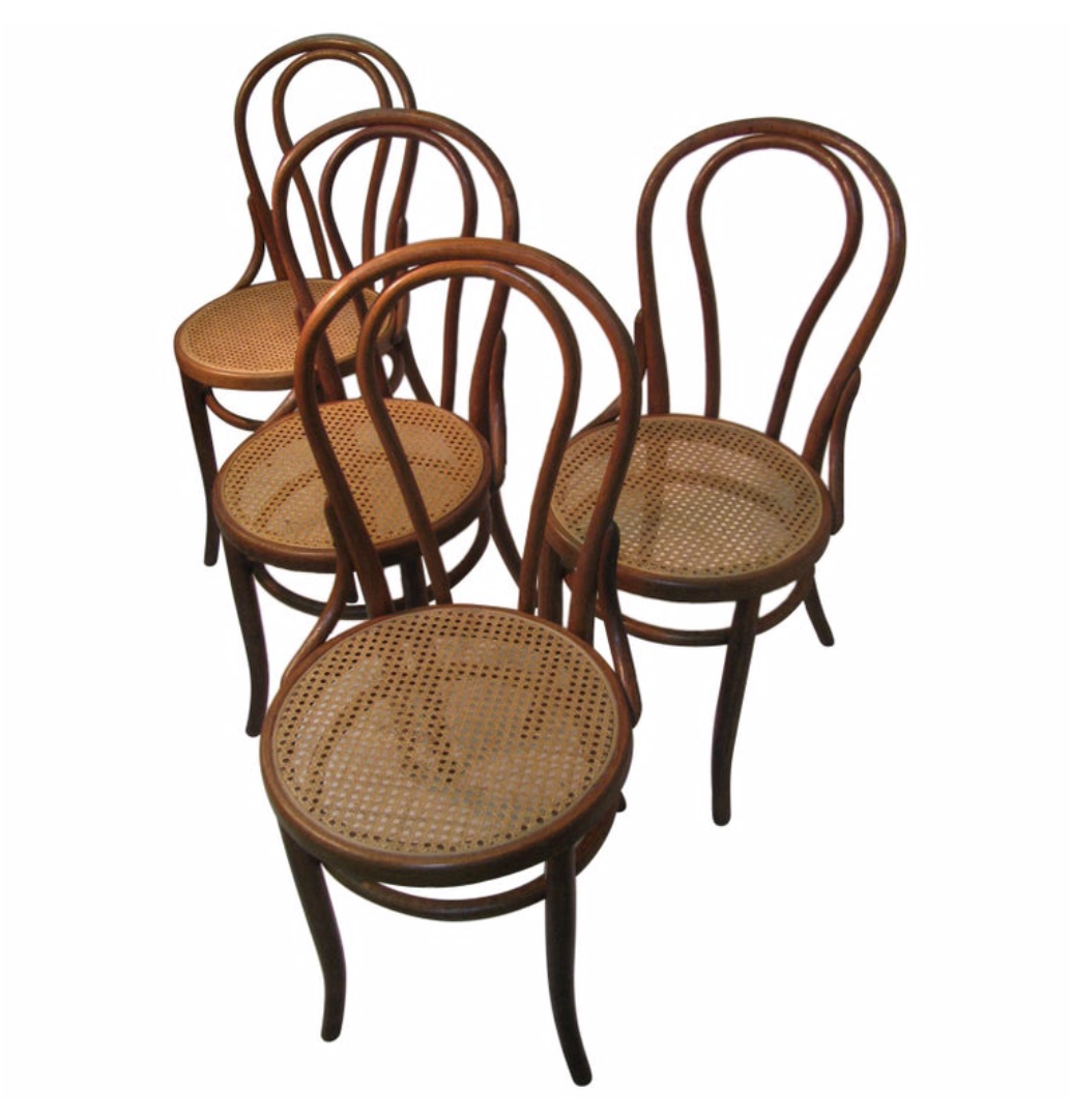 A pair of Antique Thonet Bentwood dinning chairs for $225 a pair.