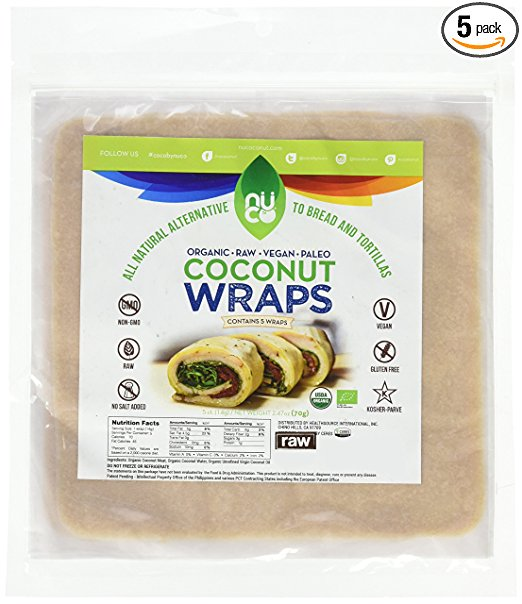 NUCO Certified ORGANIC Paleo Gluten Free Vegan Coconut Wraps, 5 Count (One Pack of Five Wraps).jpg