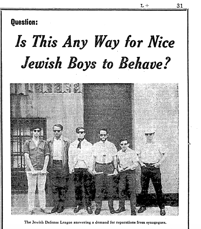 Jewish Defense League advertisement in  the New York Times