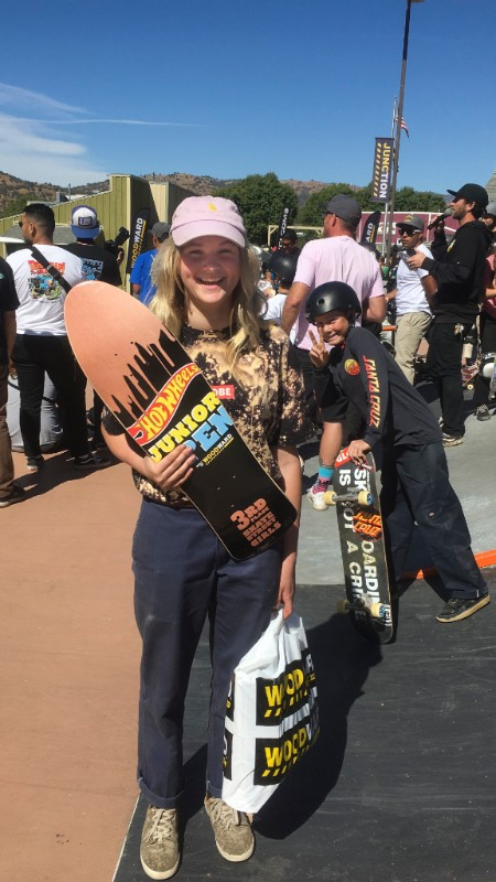 Ava grabbing 1st place in mini  and  3rd place in street at the Hotwheels Junior Open in California
